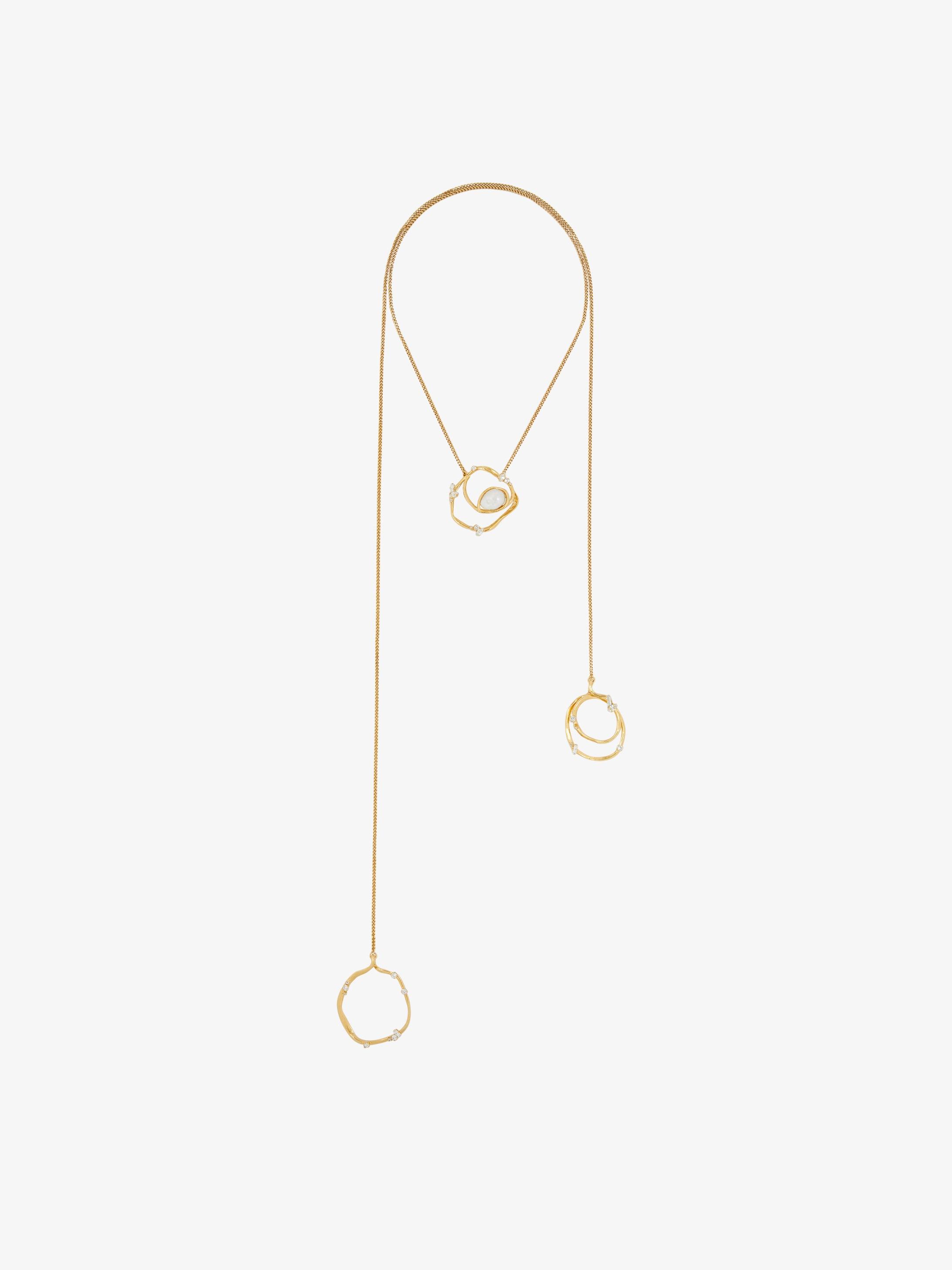 Collier lasso Ellipse avec cristaux et perle