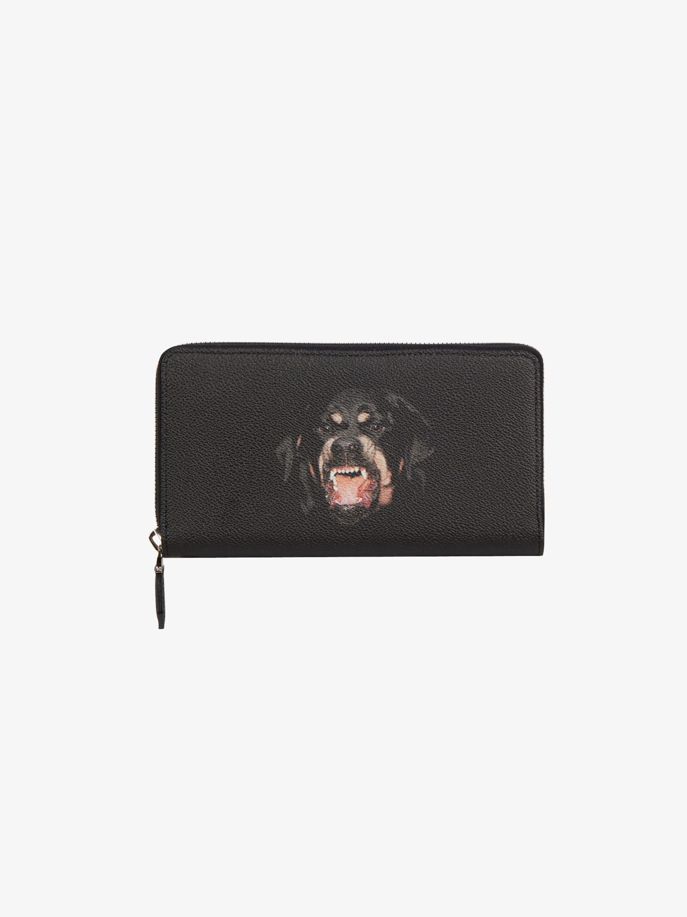 Rottweiler printed long zipped wallet