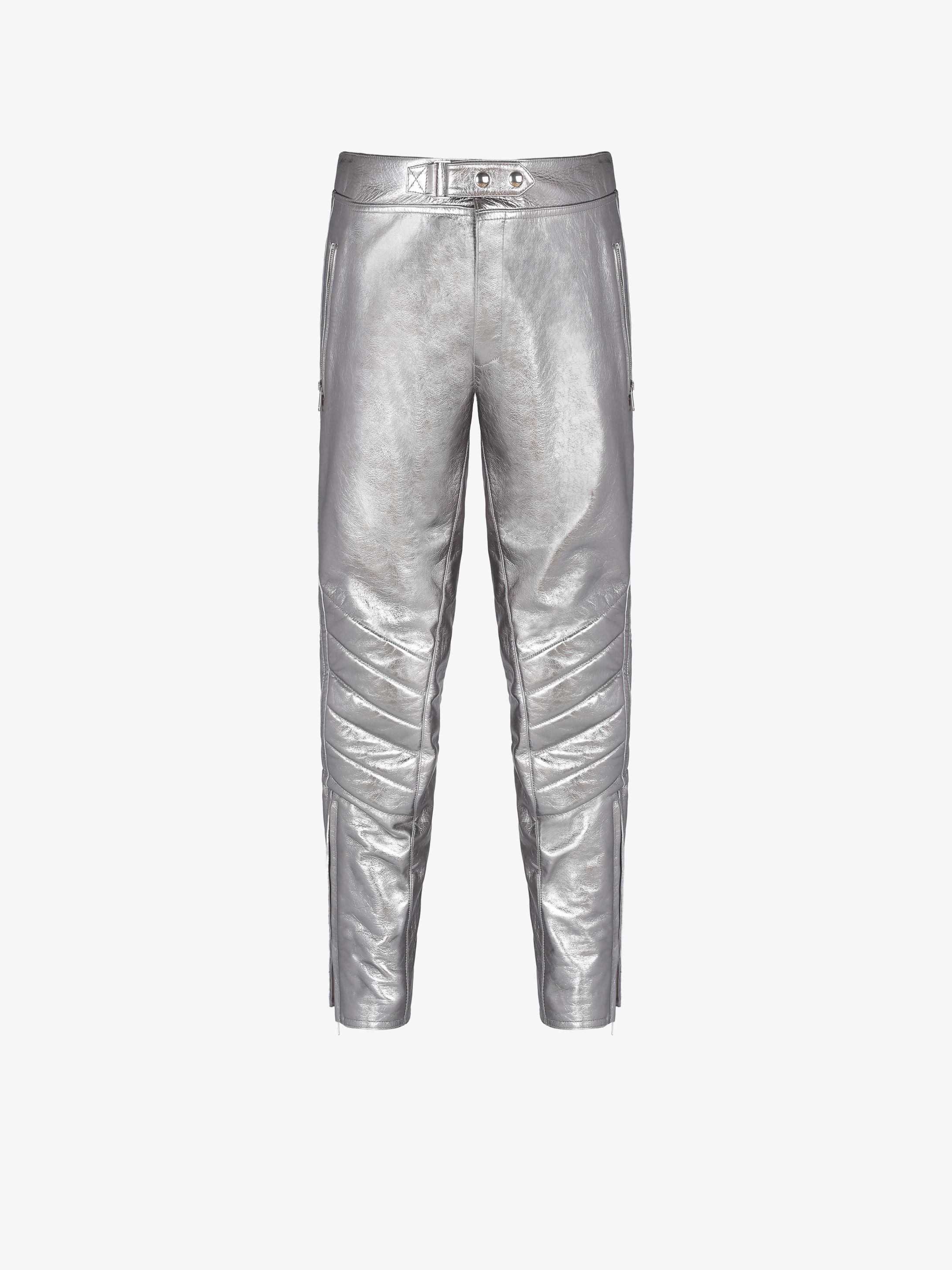 Biker pants in metallized leather