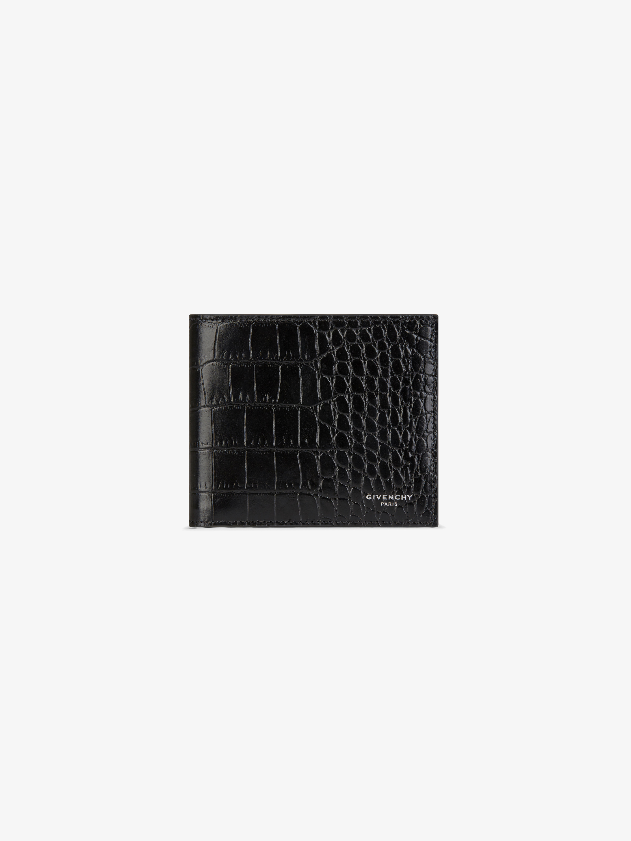 Crocodile embossed leather wallet