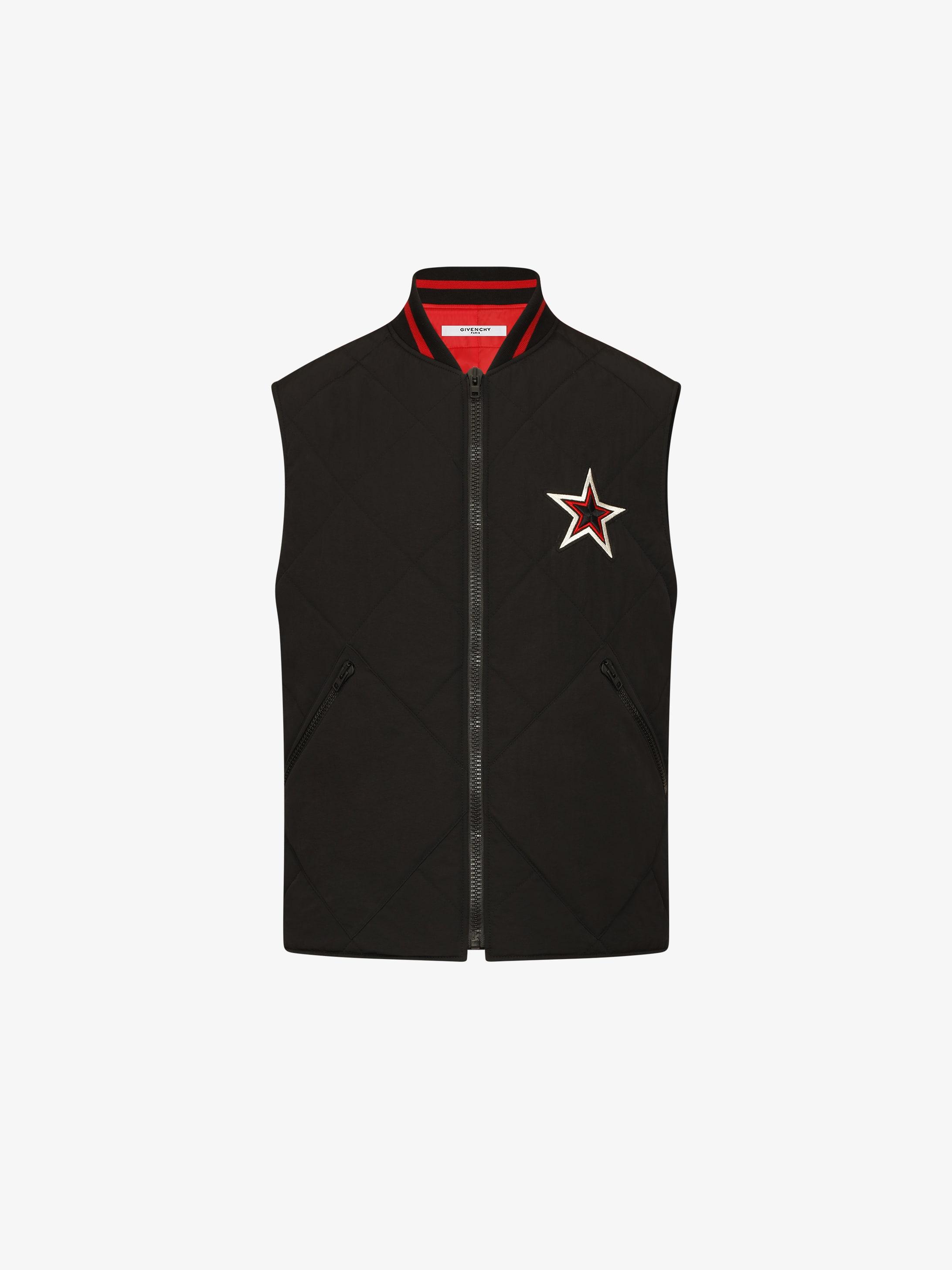 Sleeveless star patch puffa jacket