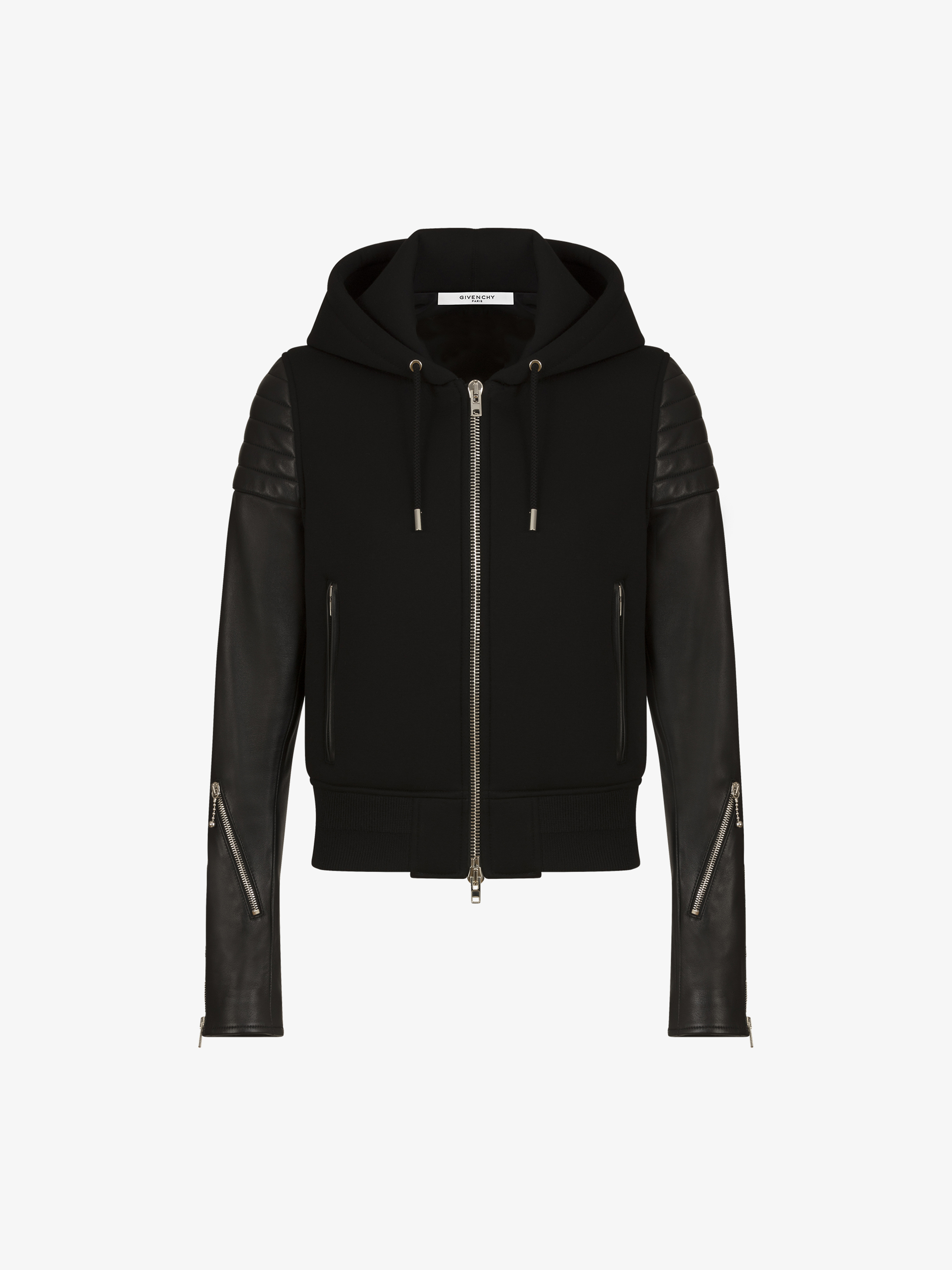 Jacket in leather and neoprene