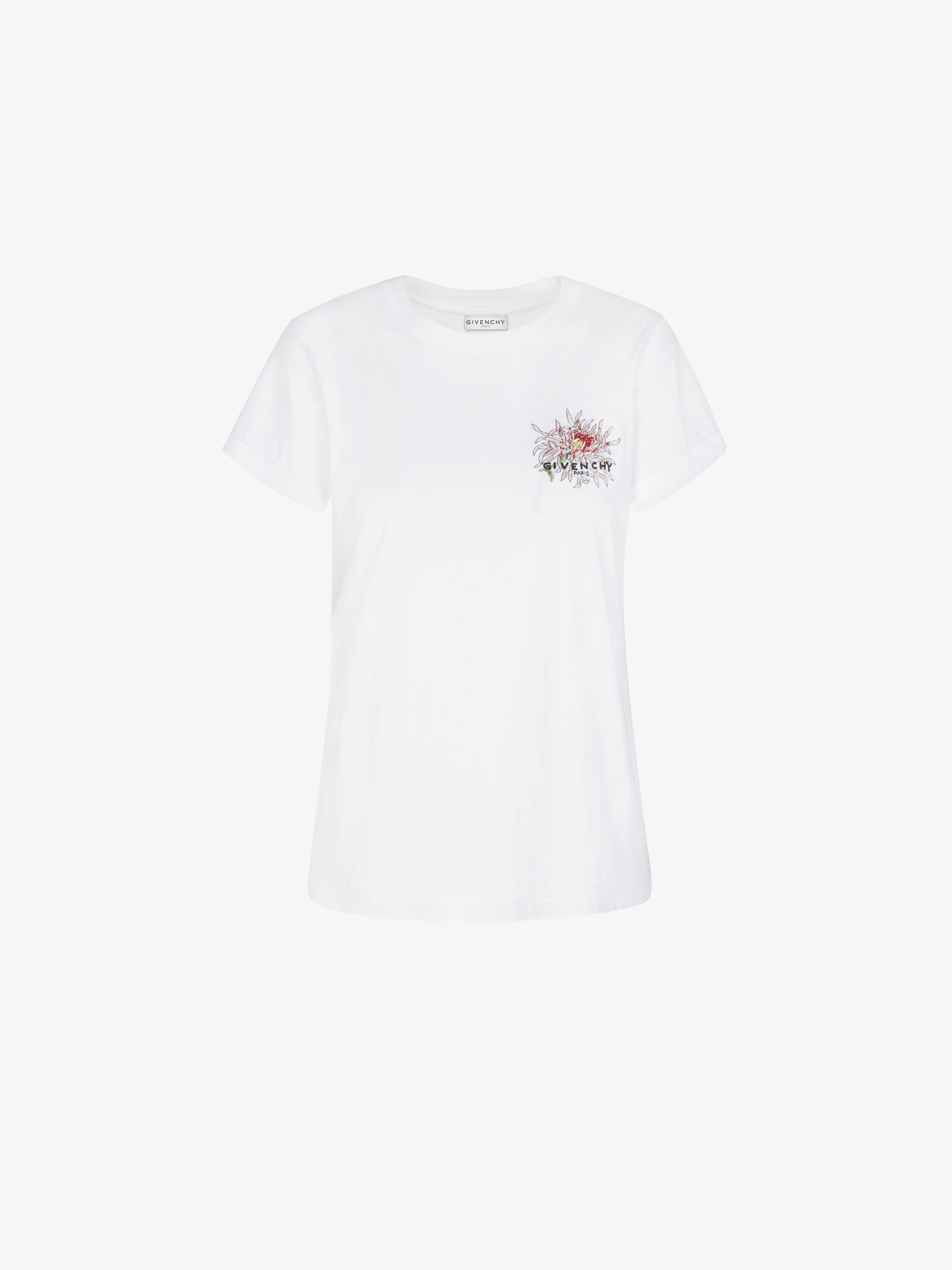 T-shirt slim fit con ricamo a fiori GIVENCHY
