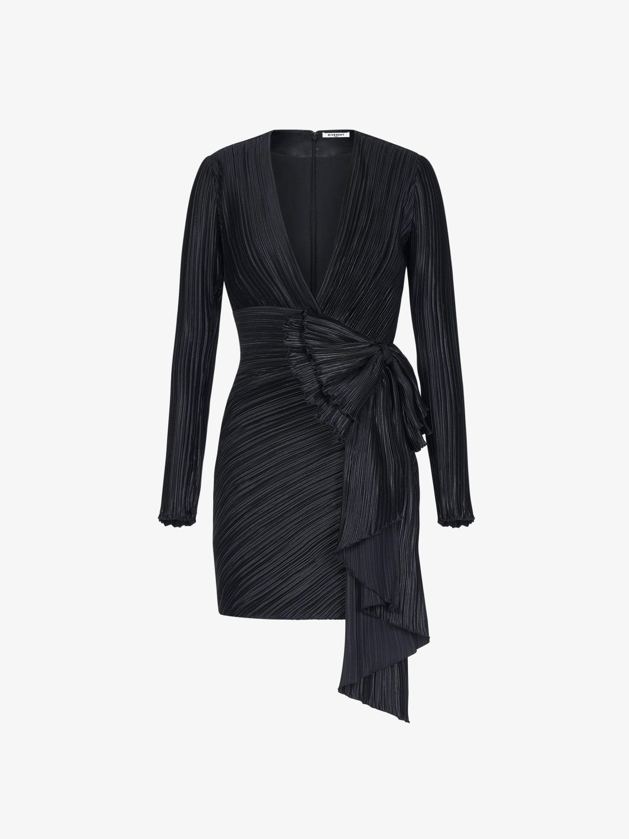 Robe courte plissée à nœud