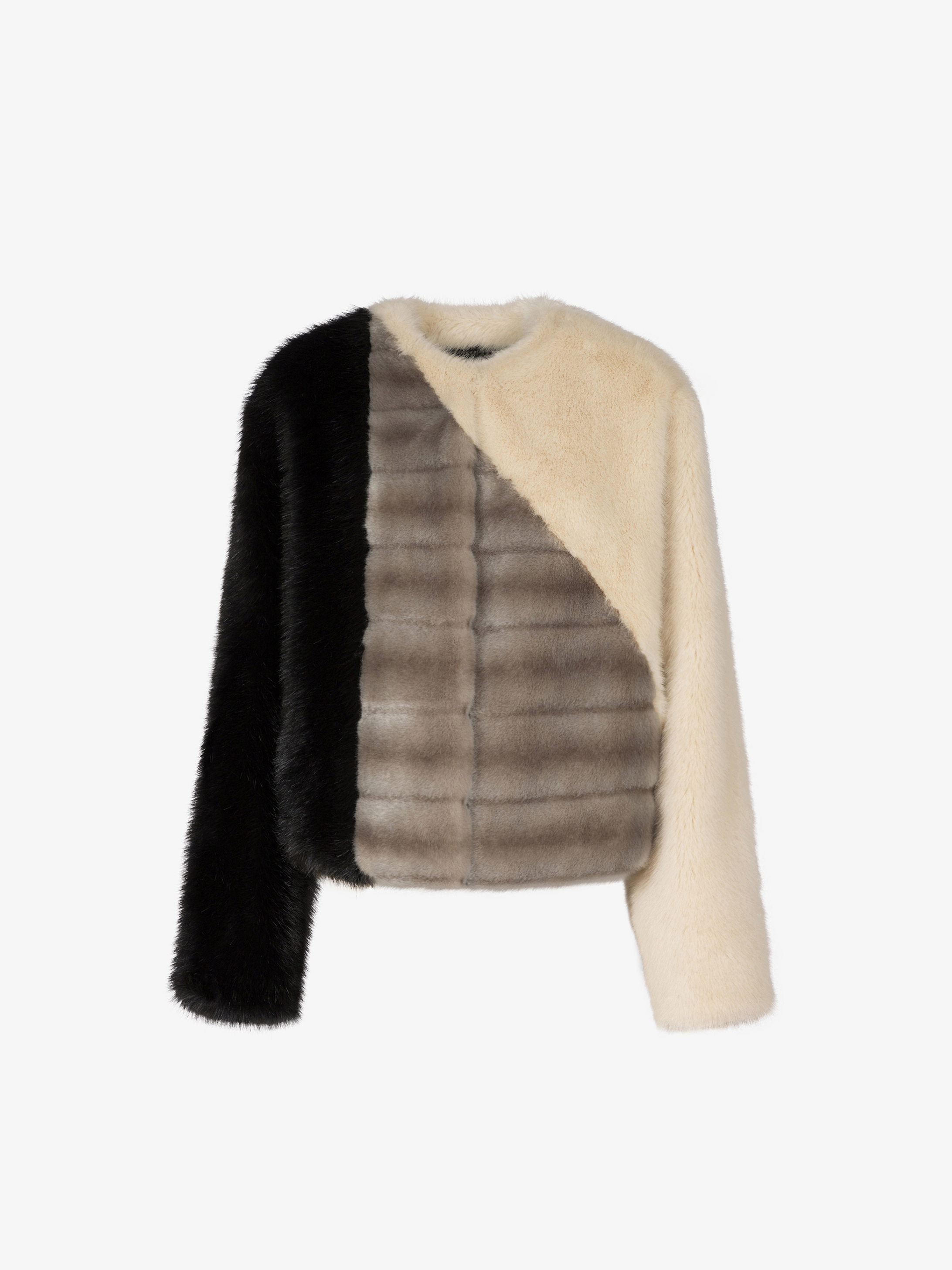 Jacket in patchwork faux fur