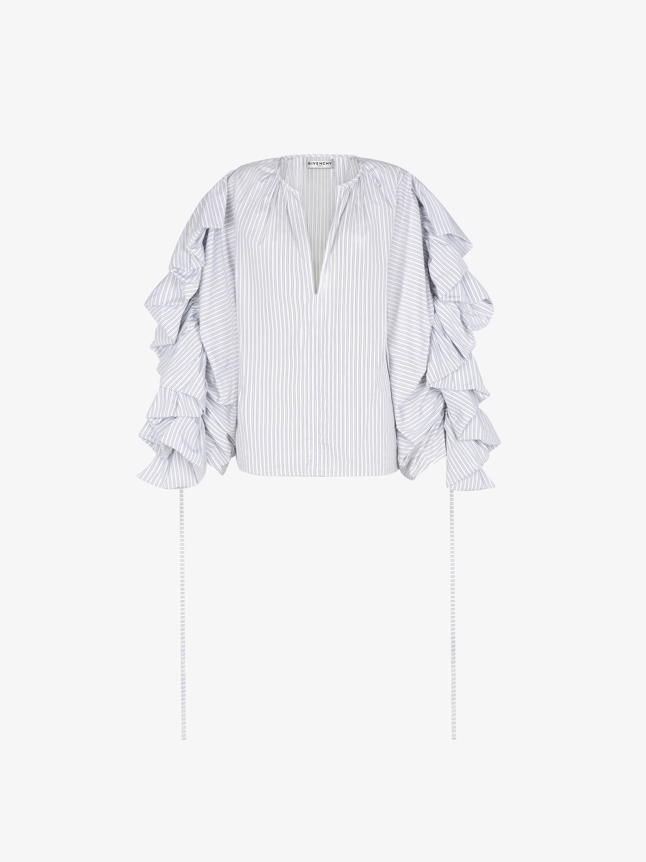 Blouse in popeline with ruffled sleeves