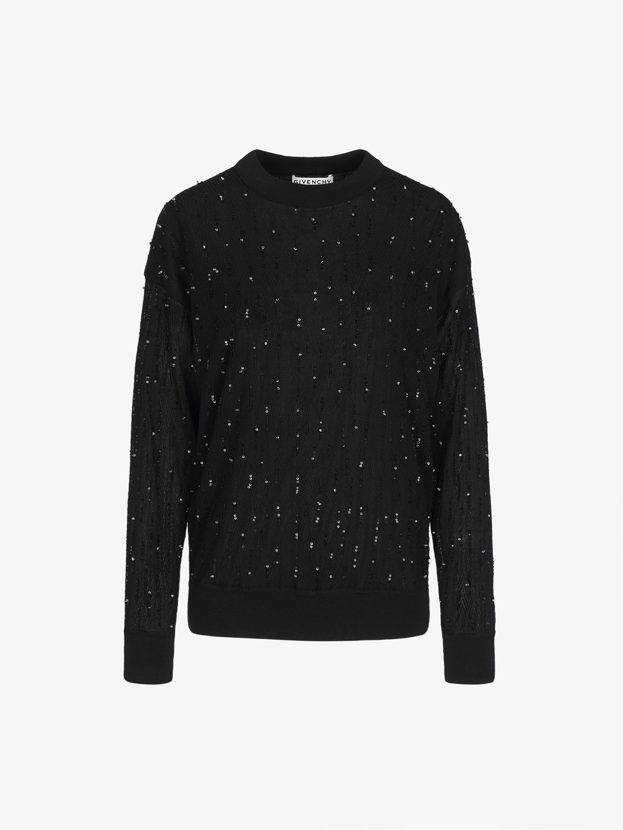Sequins embroidered sweater in viscose