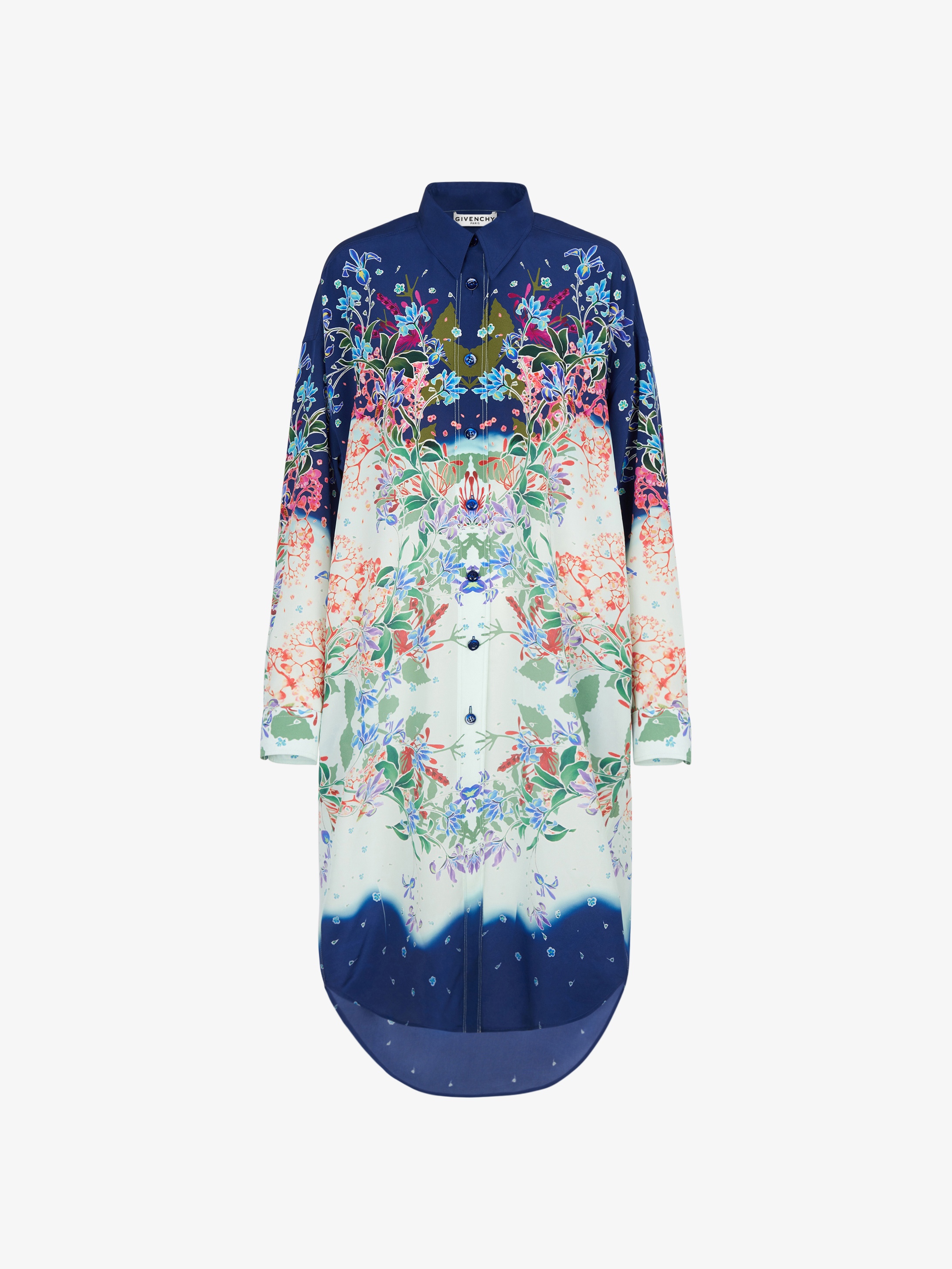 Shirt dress in floral silk