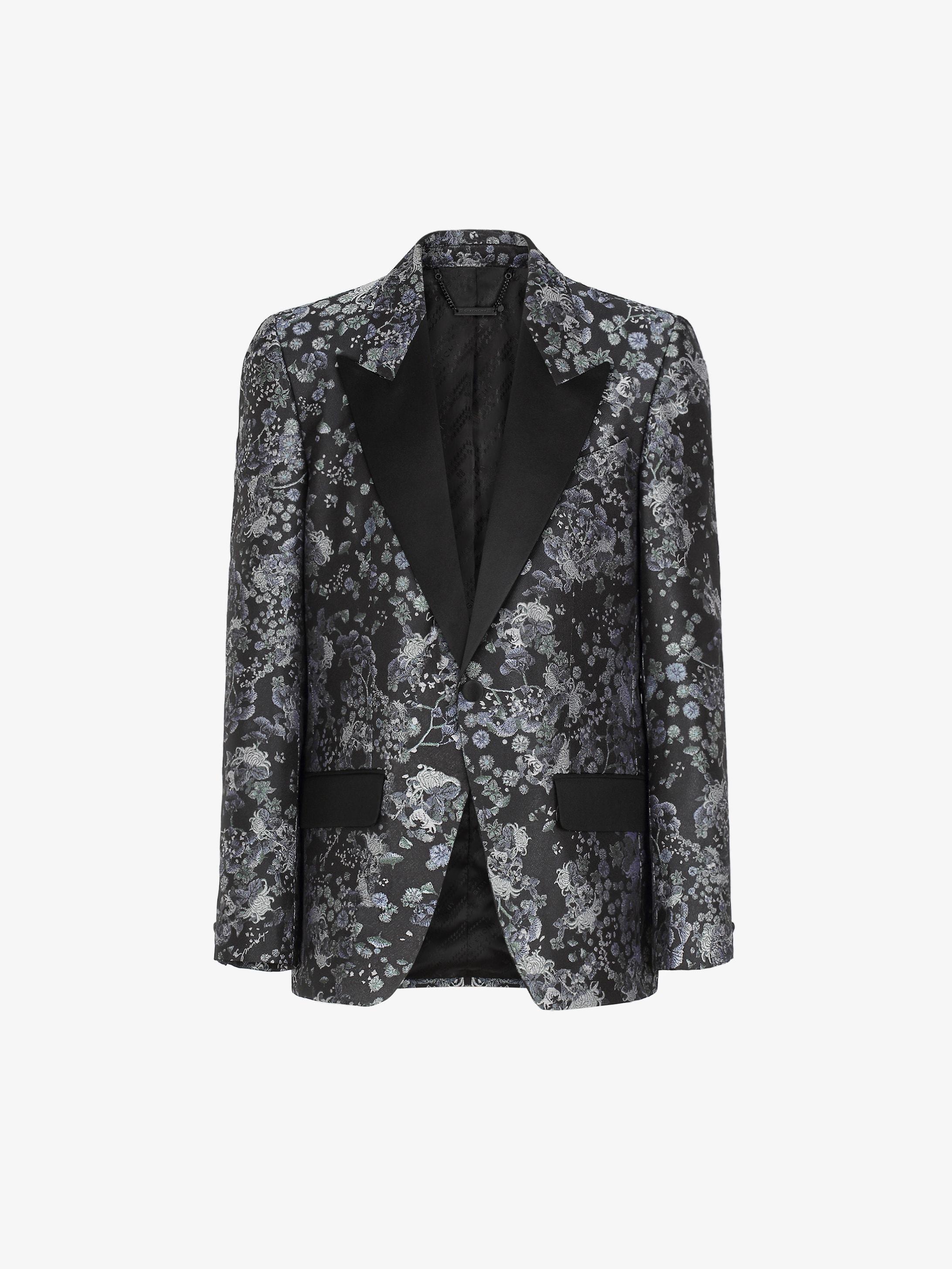 Tuxedo jacket in floral silk jacquard