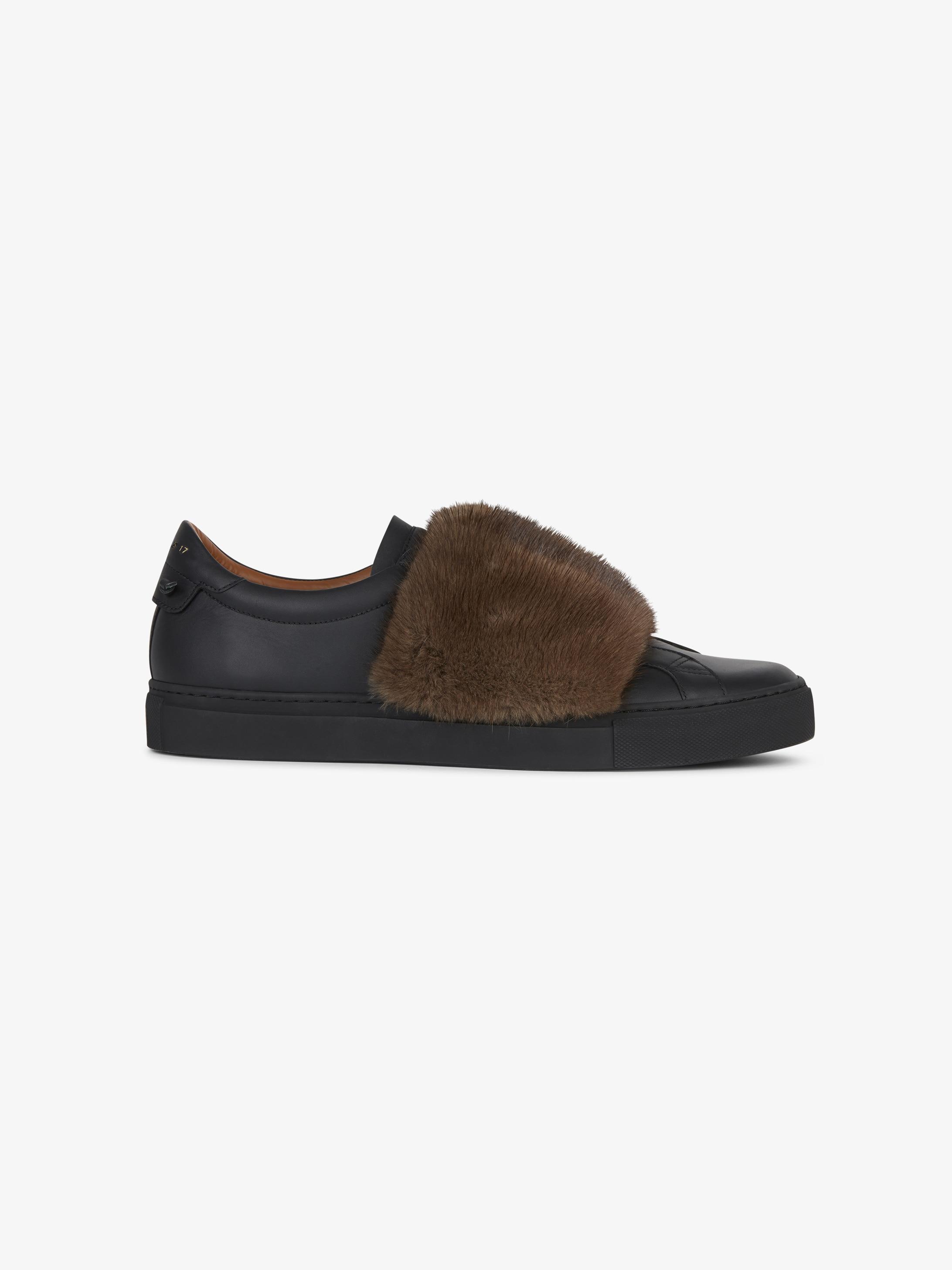 皮革和水貂皮跑鞋