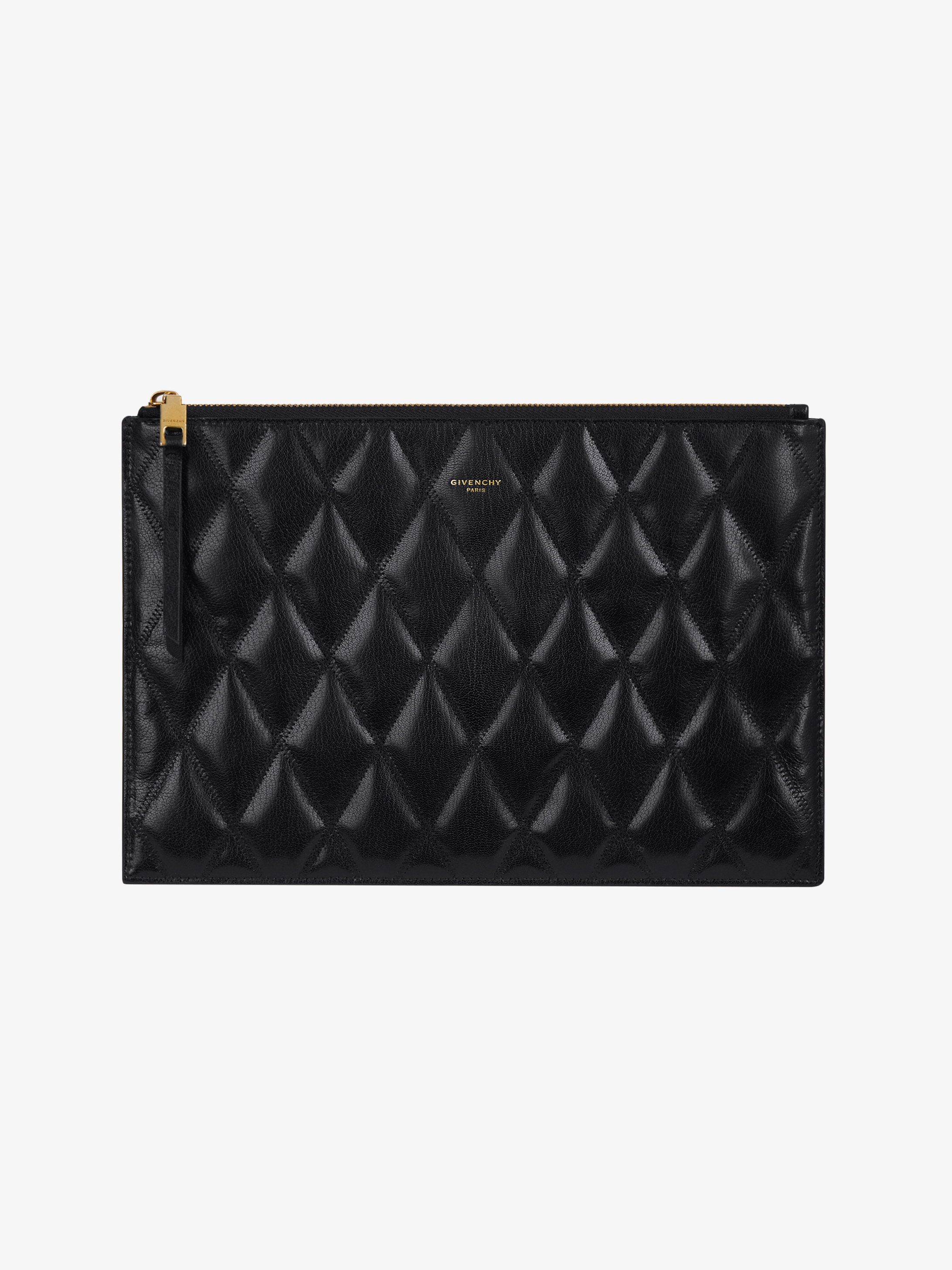 Pouch in diamond quilted leather
