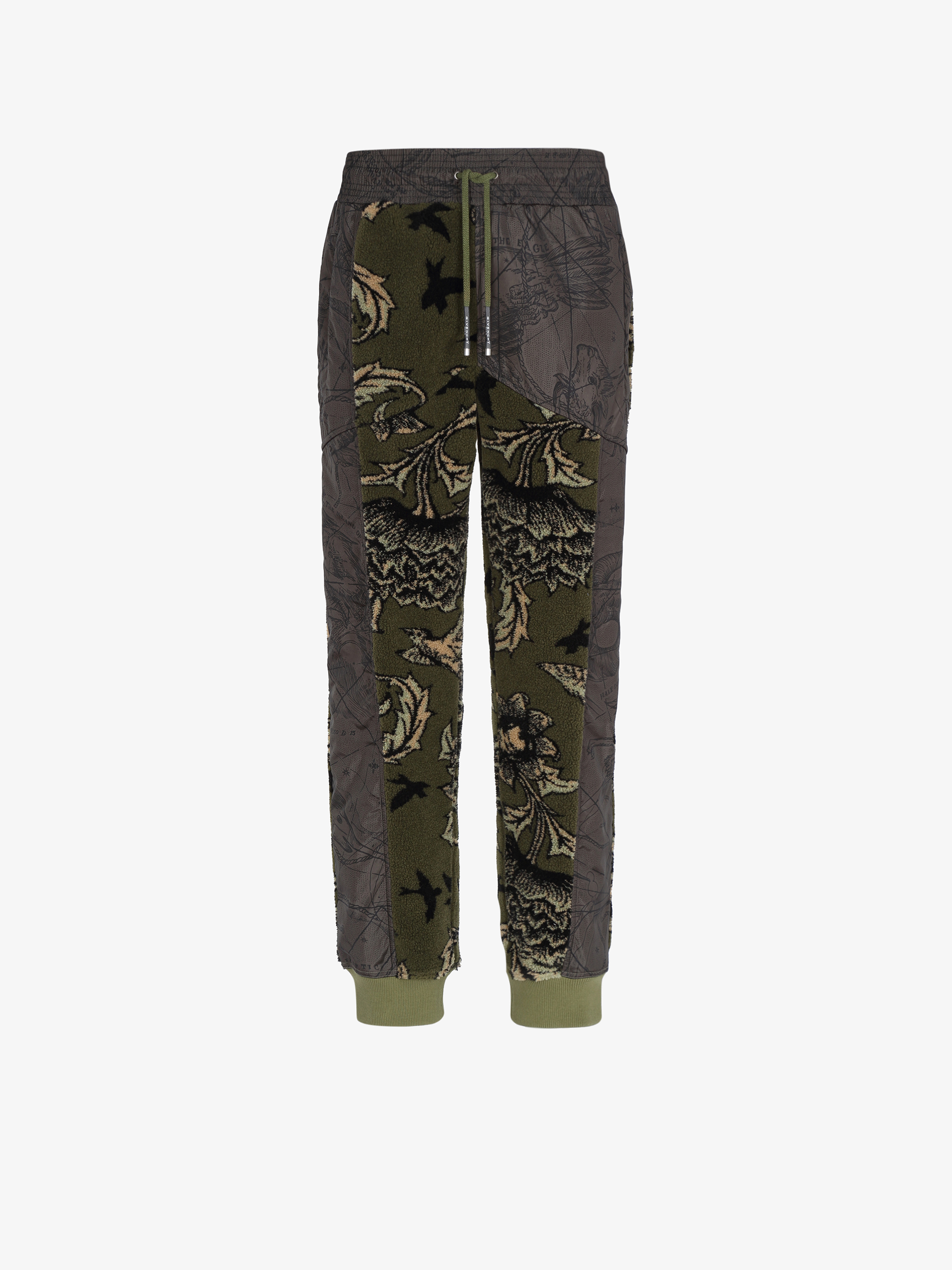 Jogger pants in floral pattern fleece and nylon
