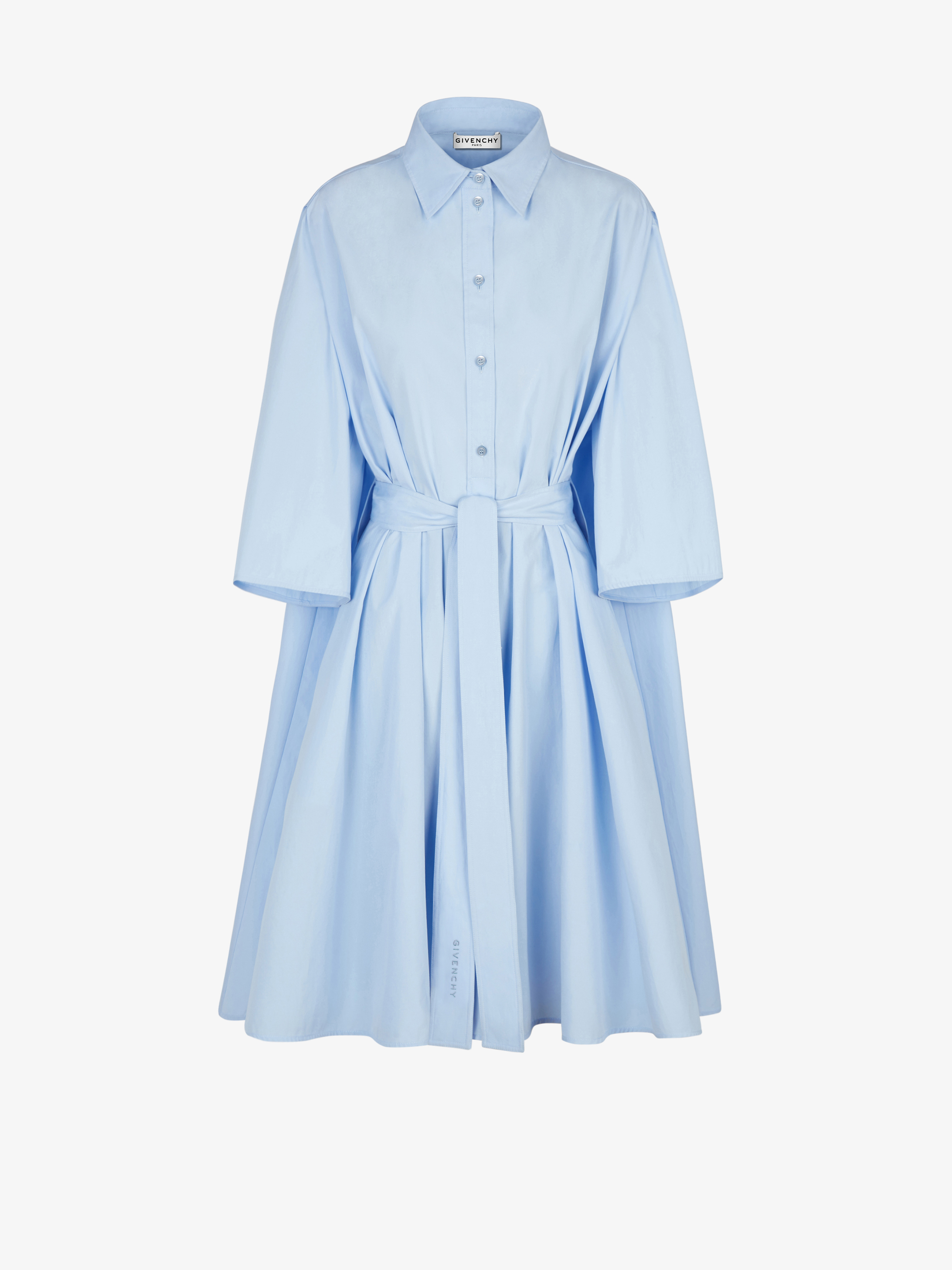 Belted shirt dress in popeline