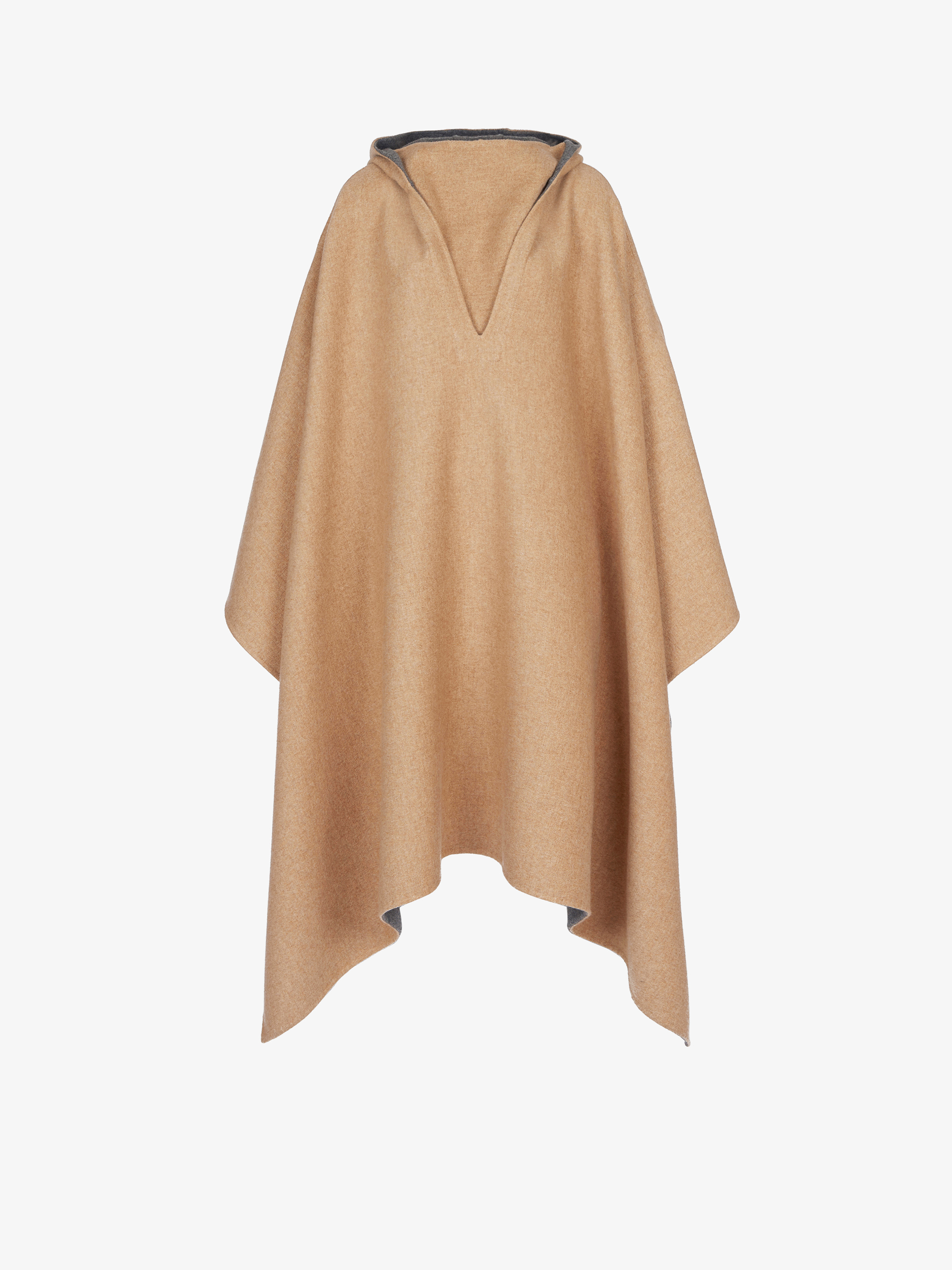 Reversible cape in double face cashmere