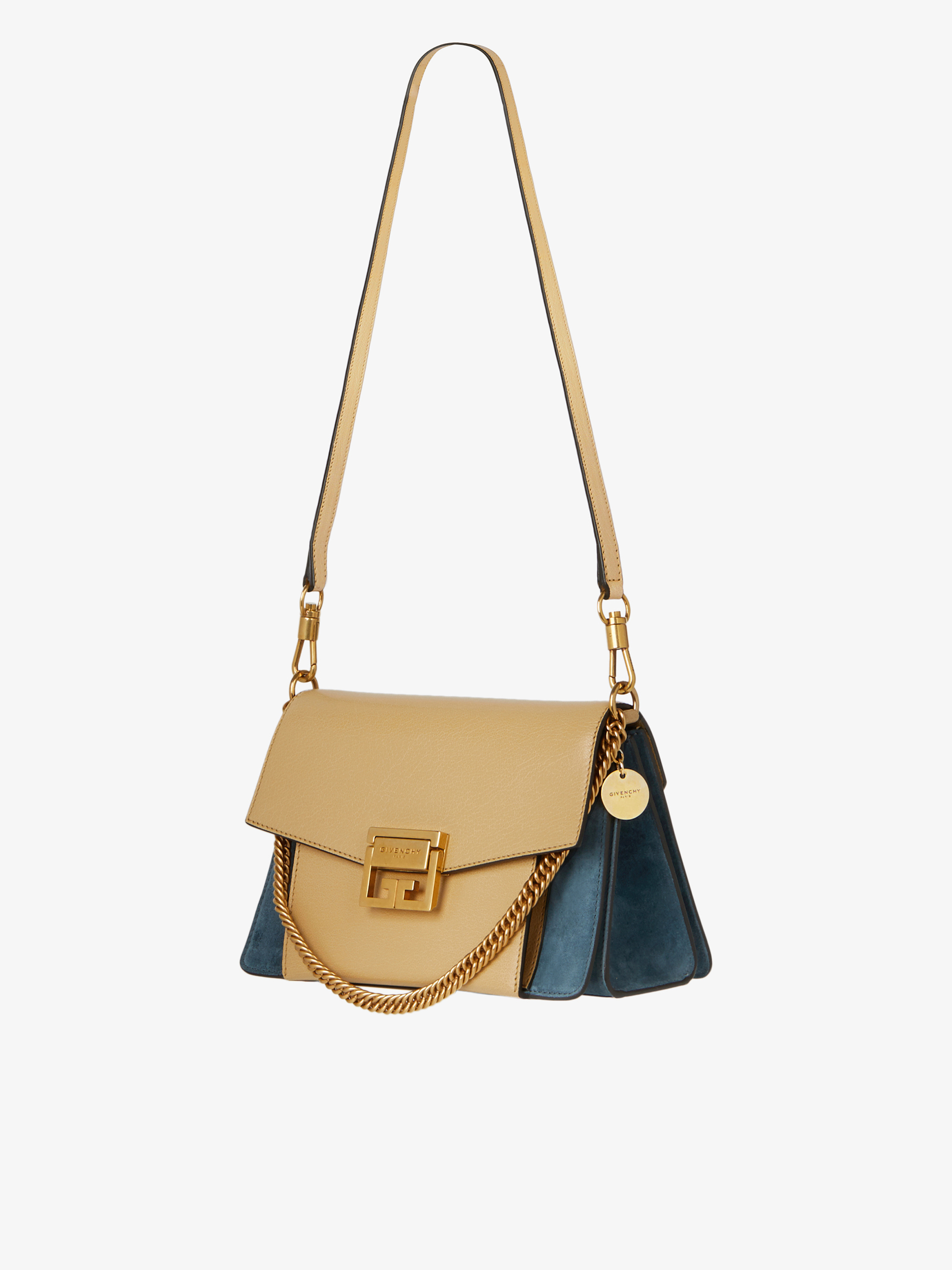 Small GV3 bag in grained leather and suede