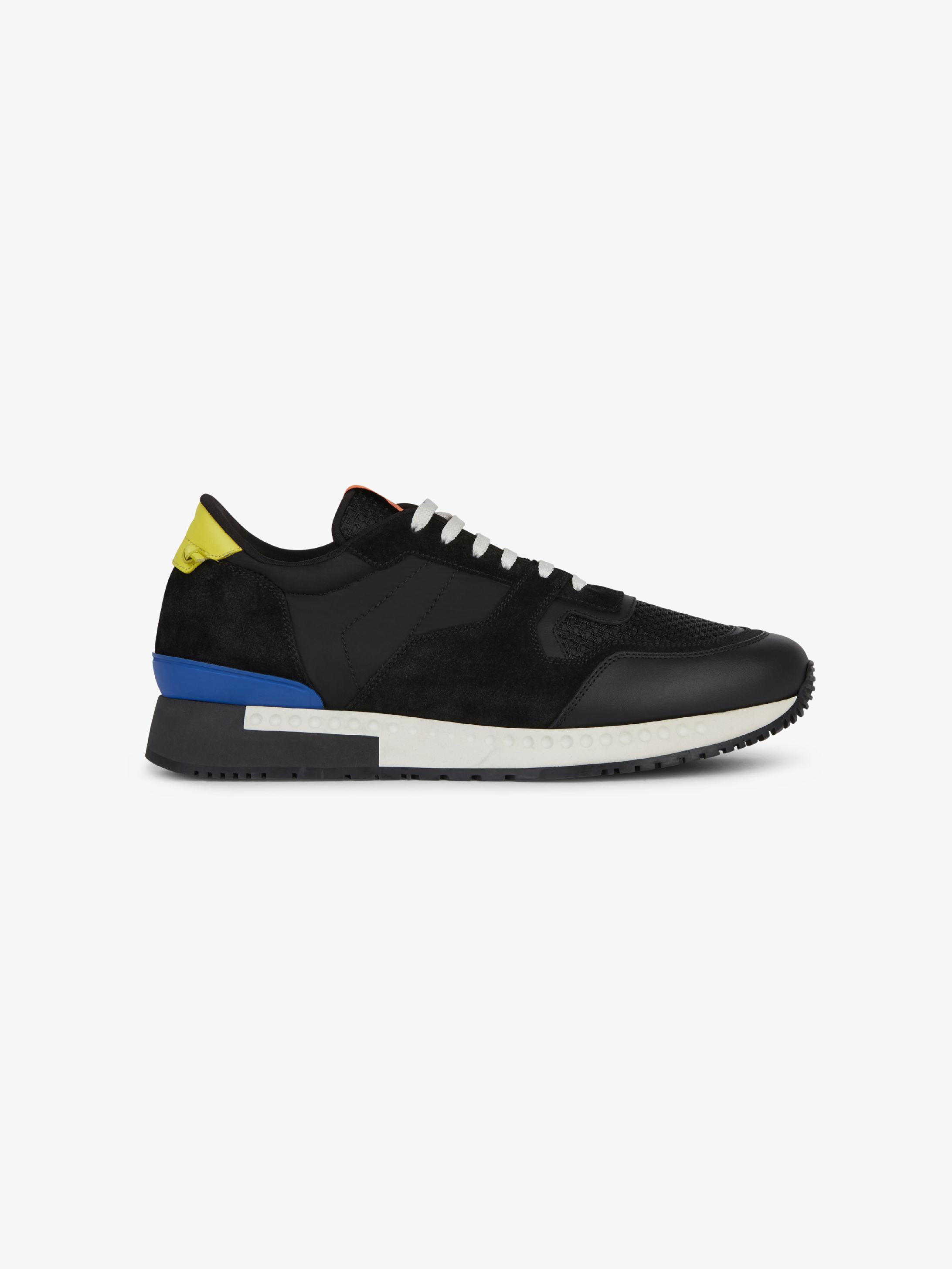 Runner sneakers in leather, suede and nylon
