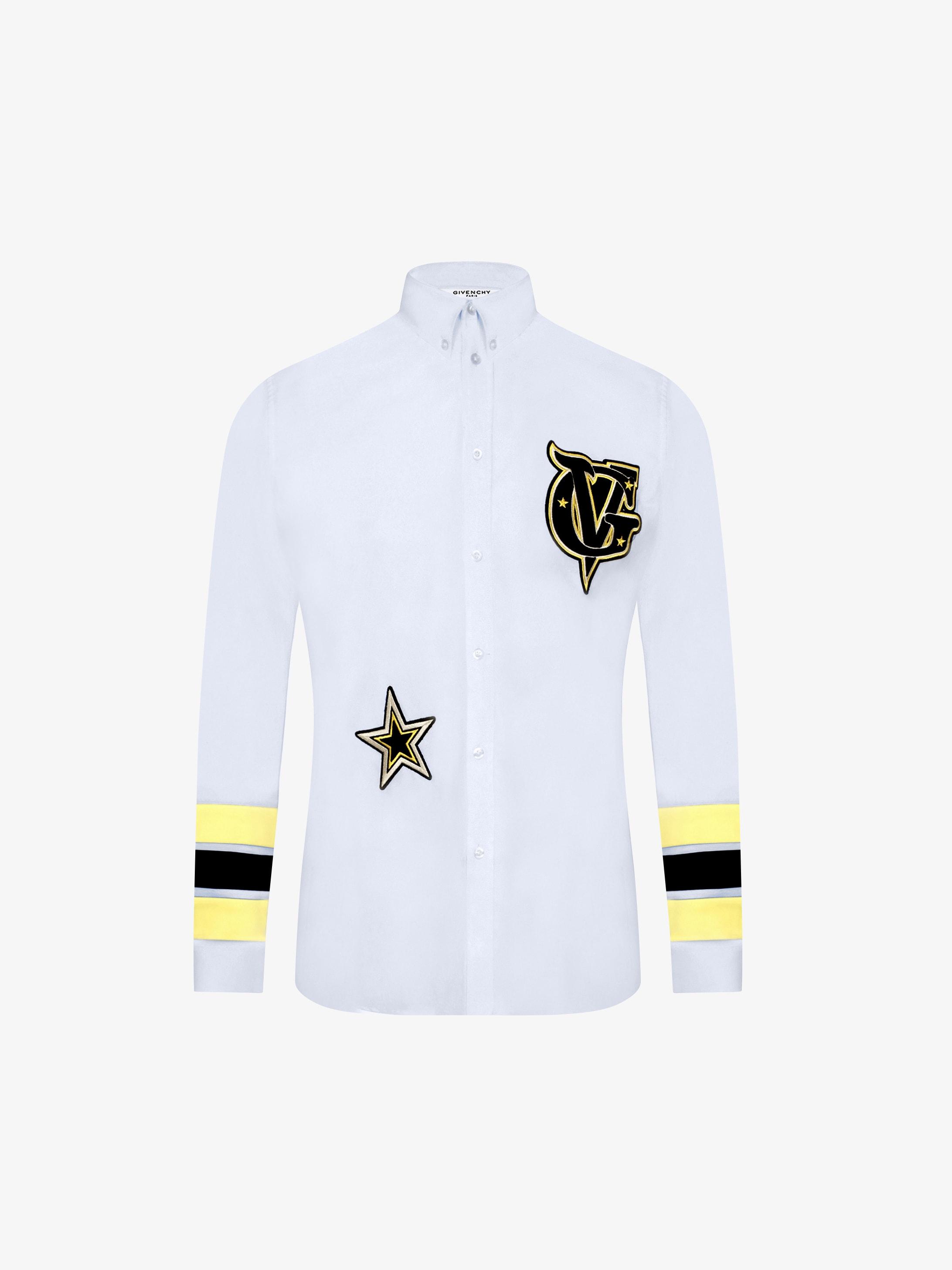Geometric design contemporary fit poplin shirt