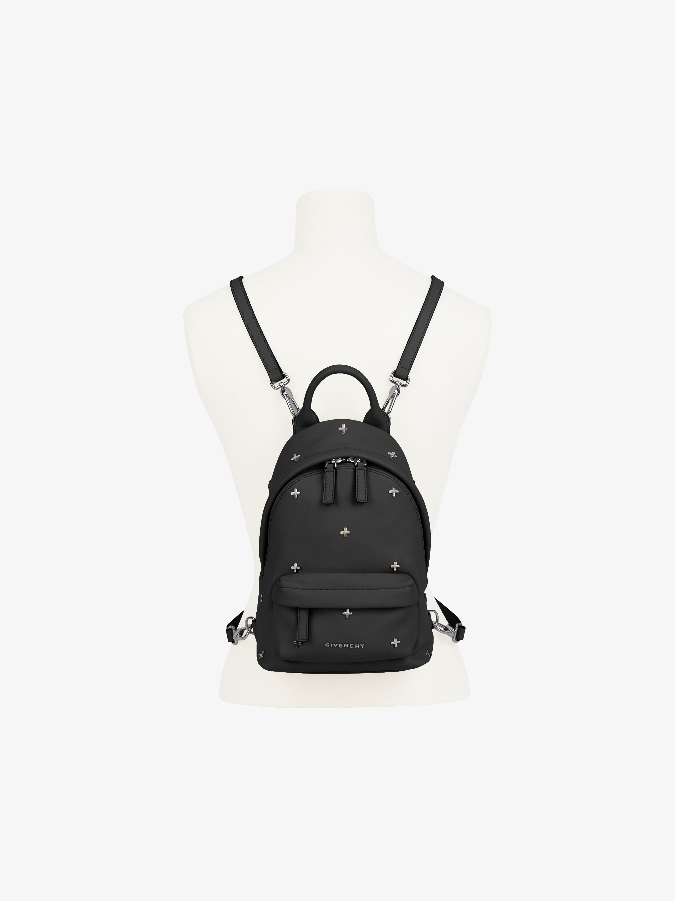 Metal crosses embroidered nano leather backpack