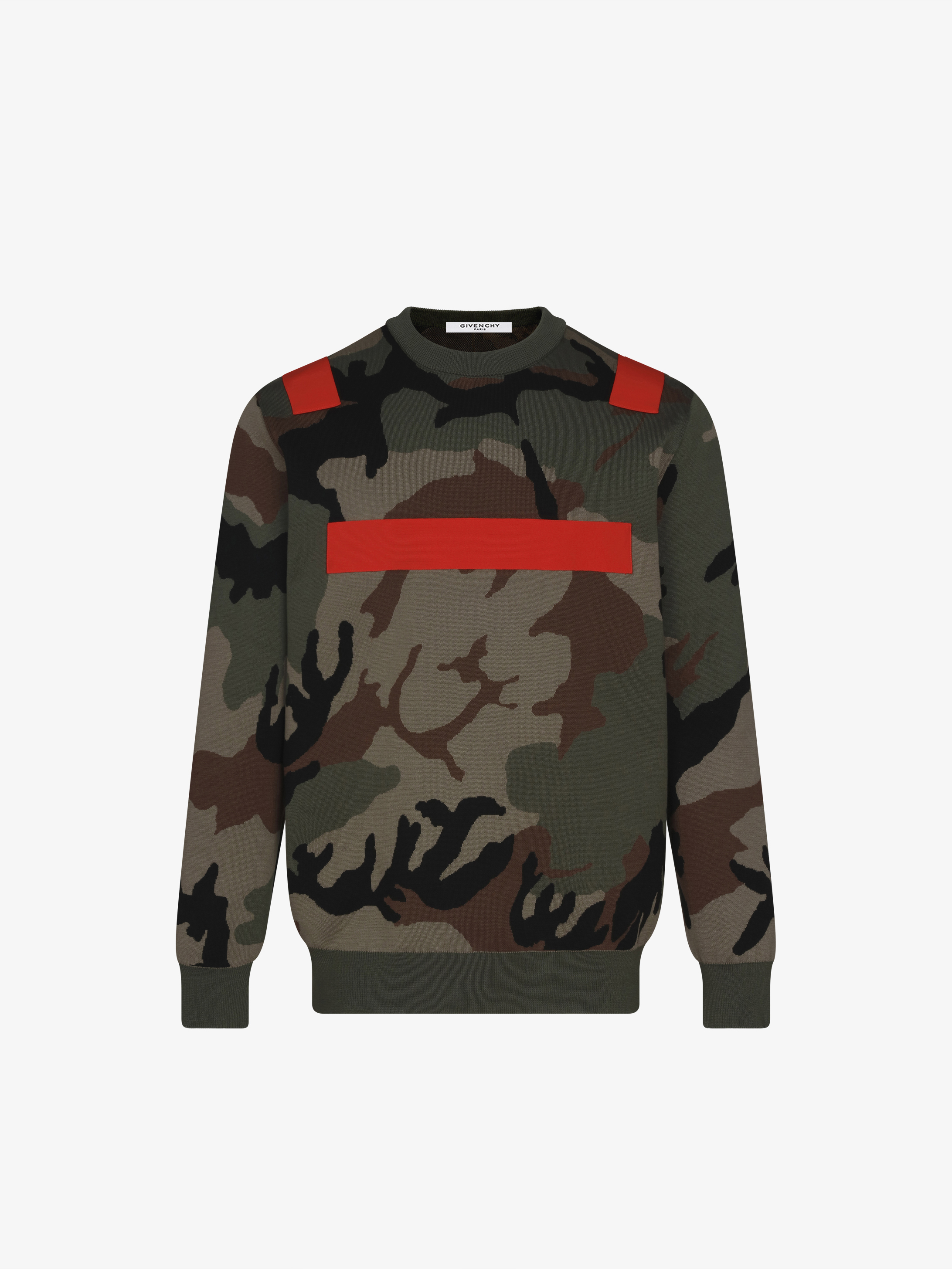 Camo jumper with contrasted bands