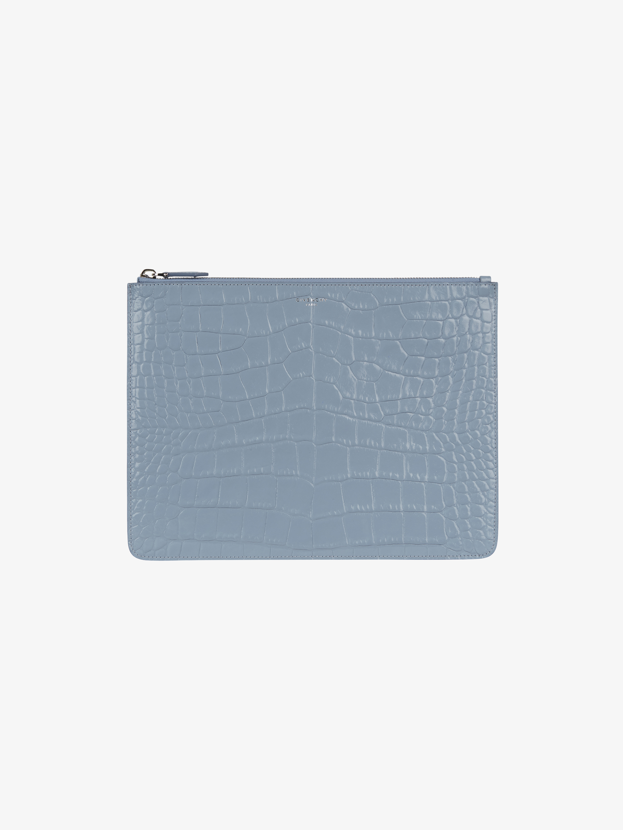 Crocodile embossed pouch in leather