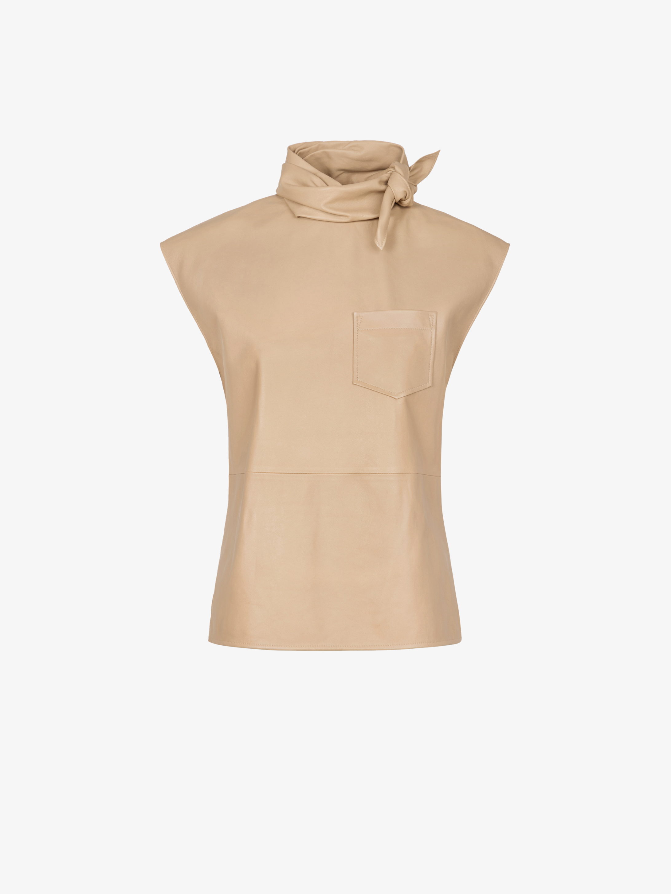 Top in leather with twisted scarf collar