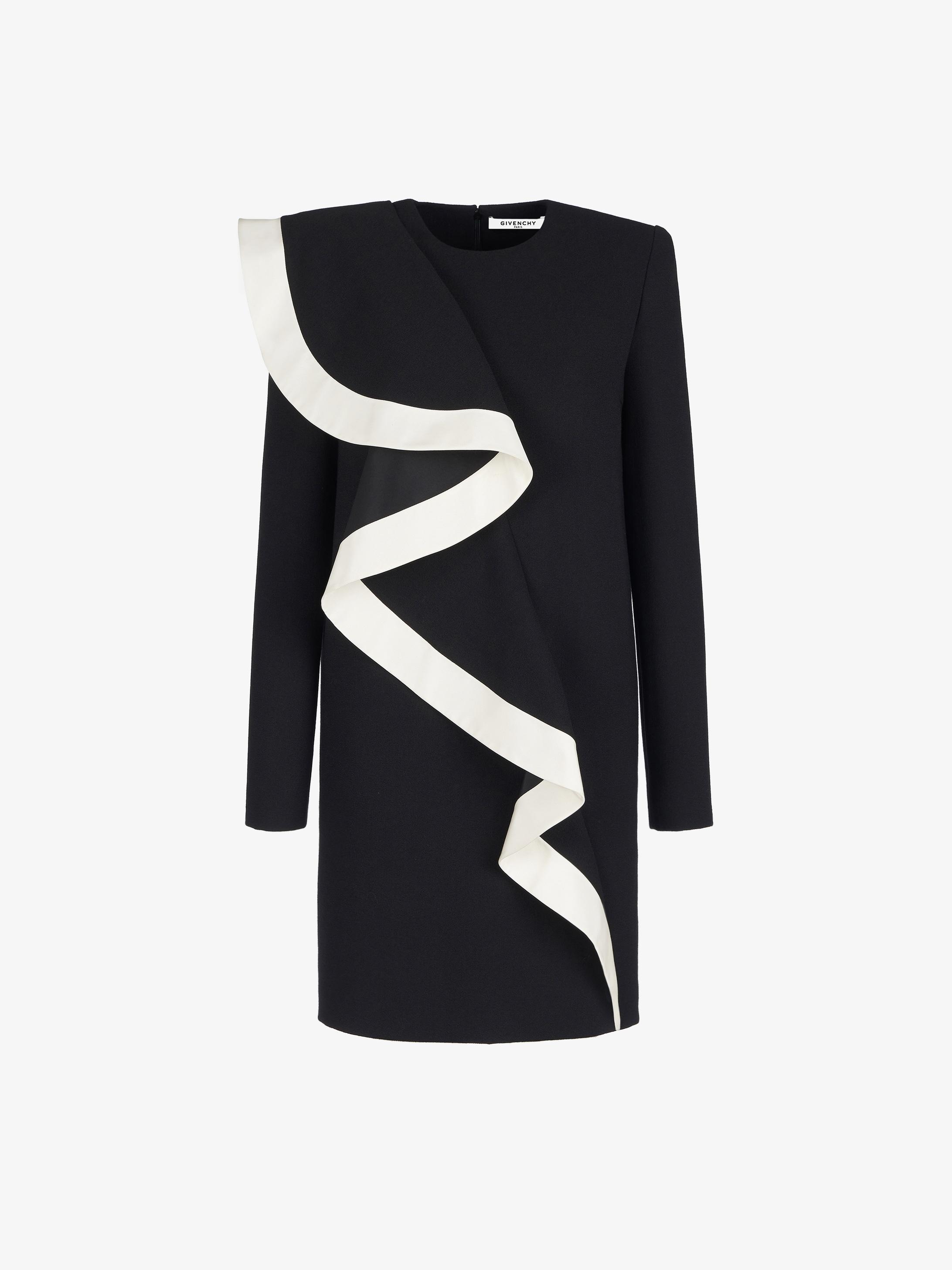 Short asymmetric dress with ruffles in wool