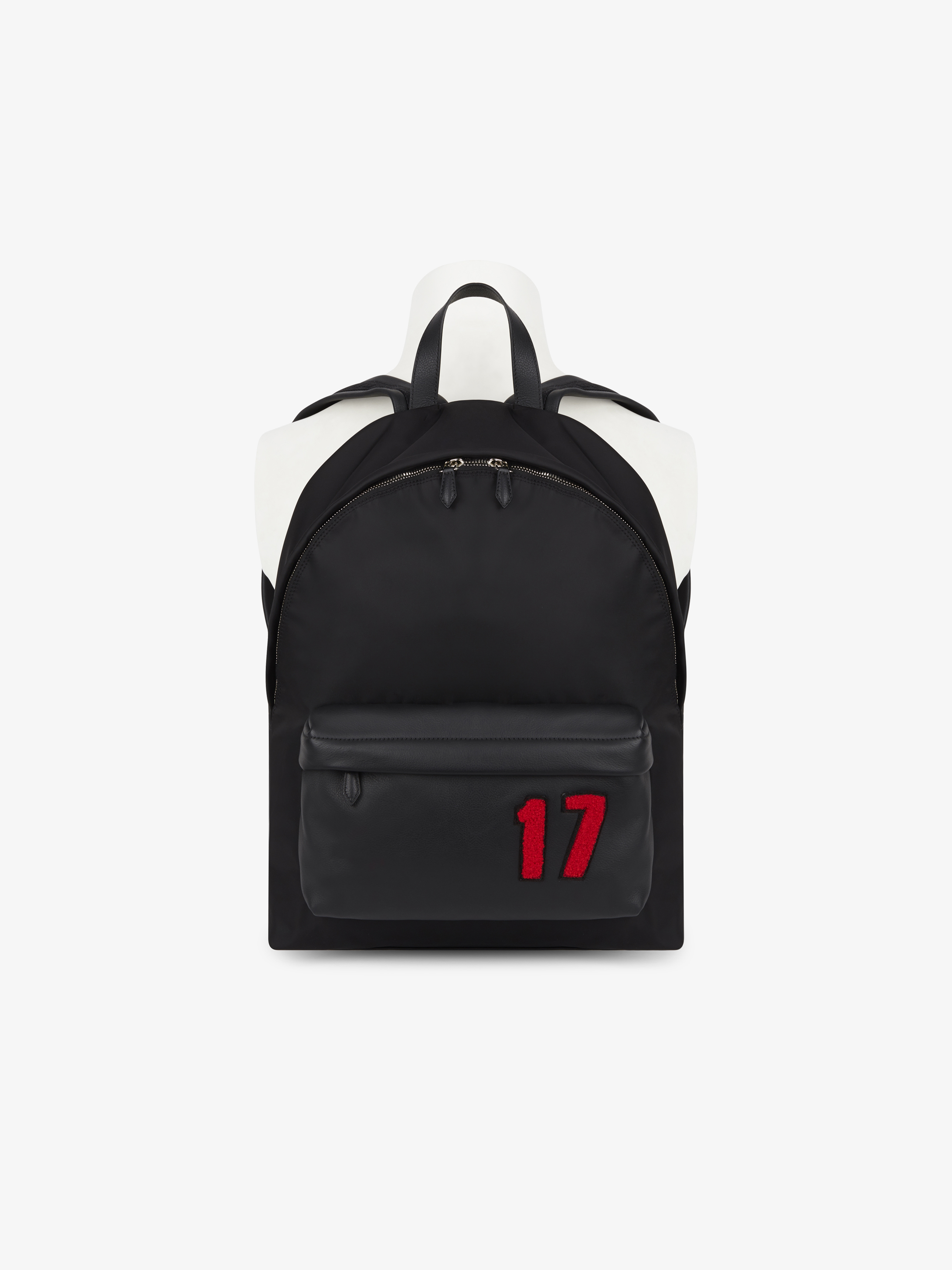 17 patch backpack in nylon with leather pocket