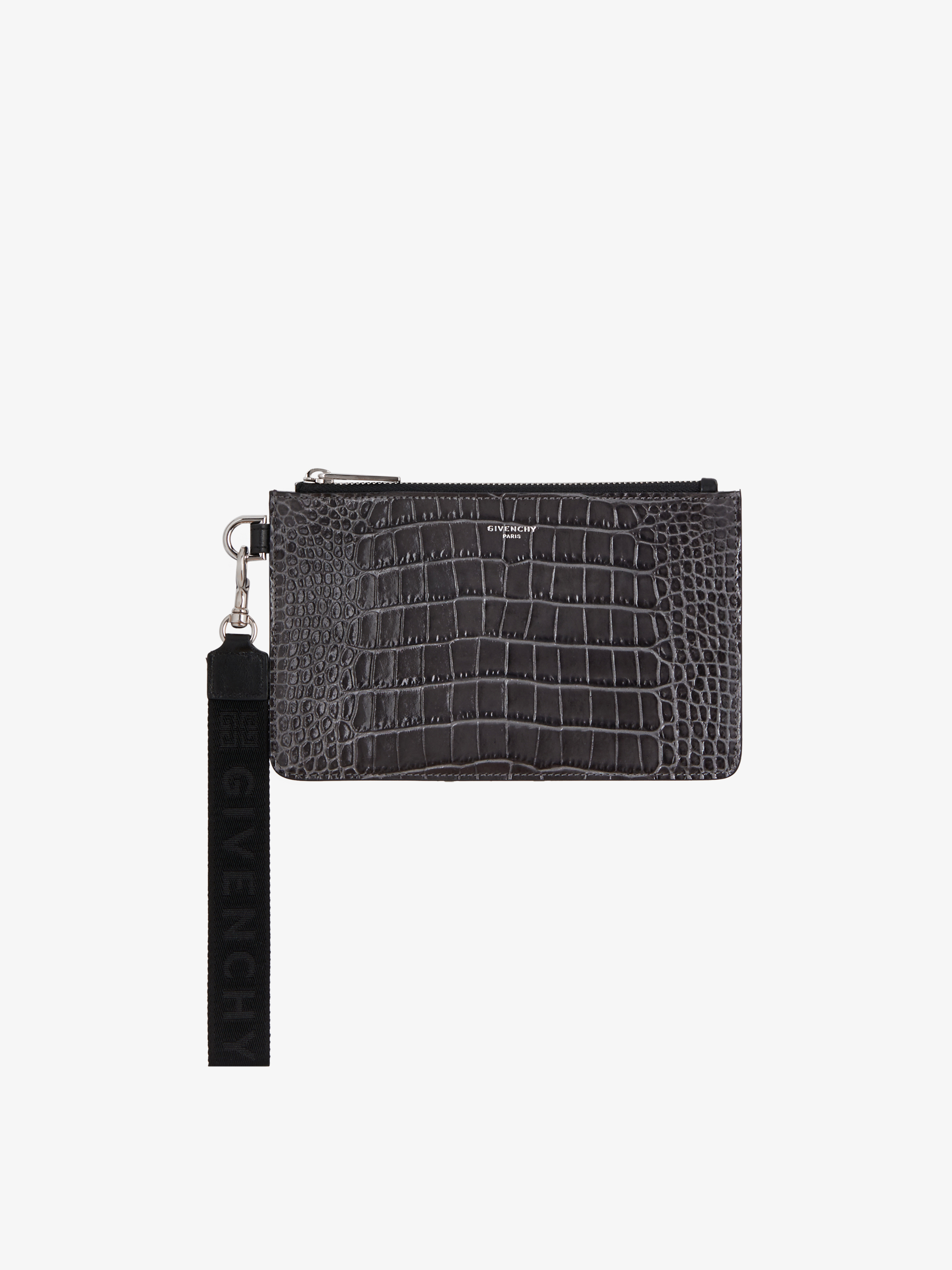 GIVENCHY 4G wrist strap mini pouch in crocodile effect leather