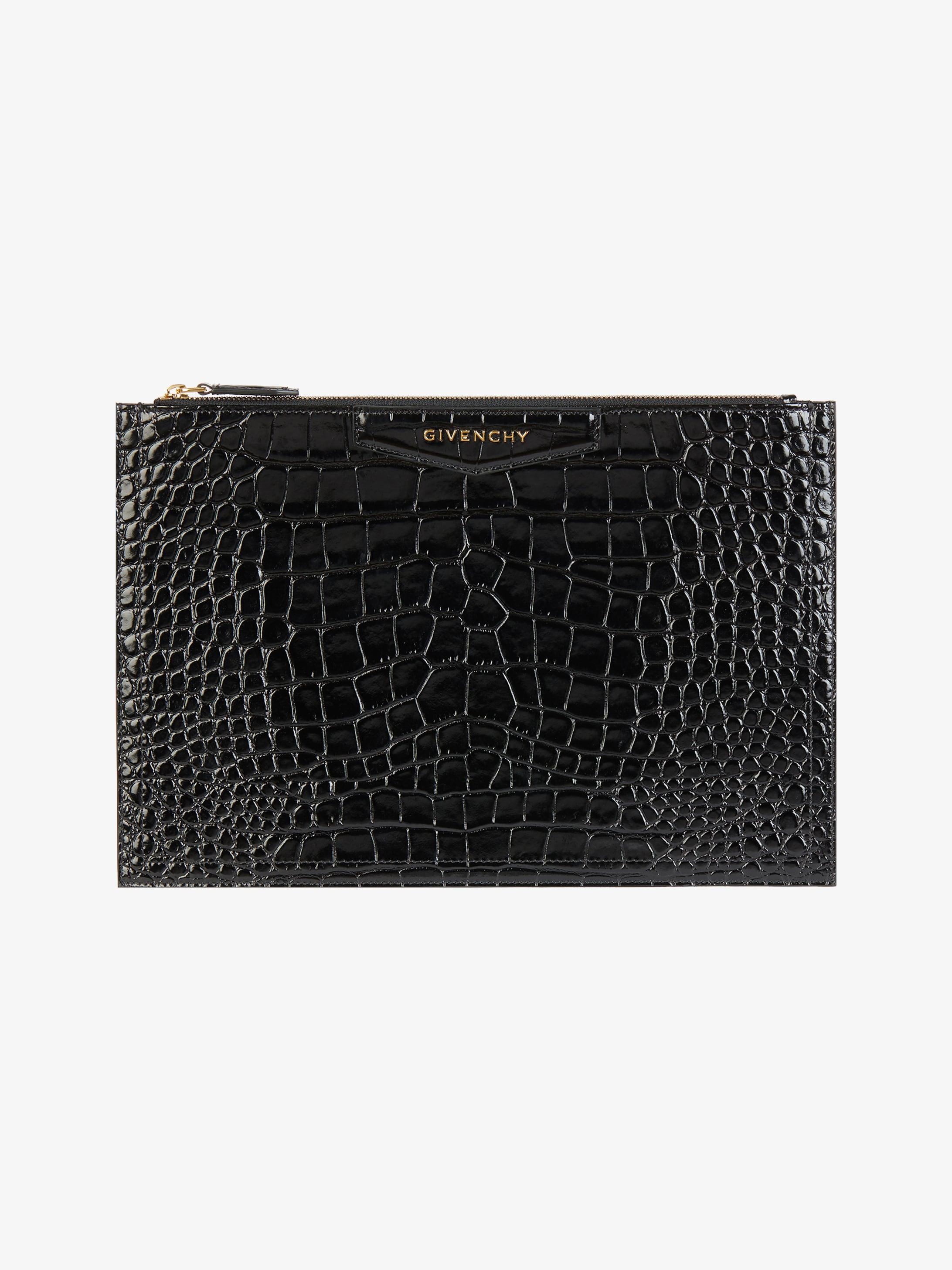 Antigona medium pouch in crocodile effect leather