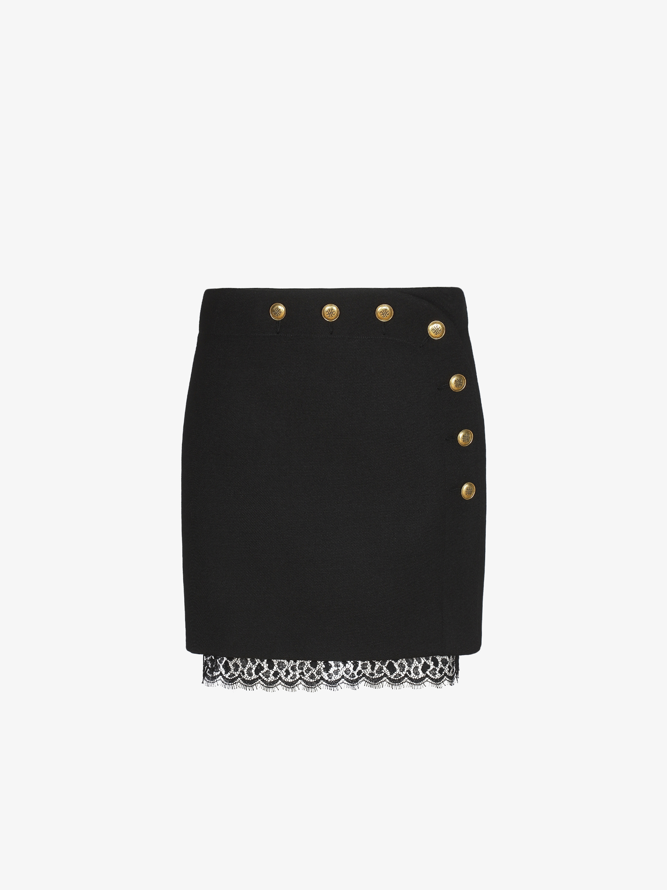 Mini skirt in wool and lace with 4G buttons