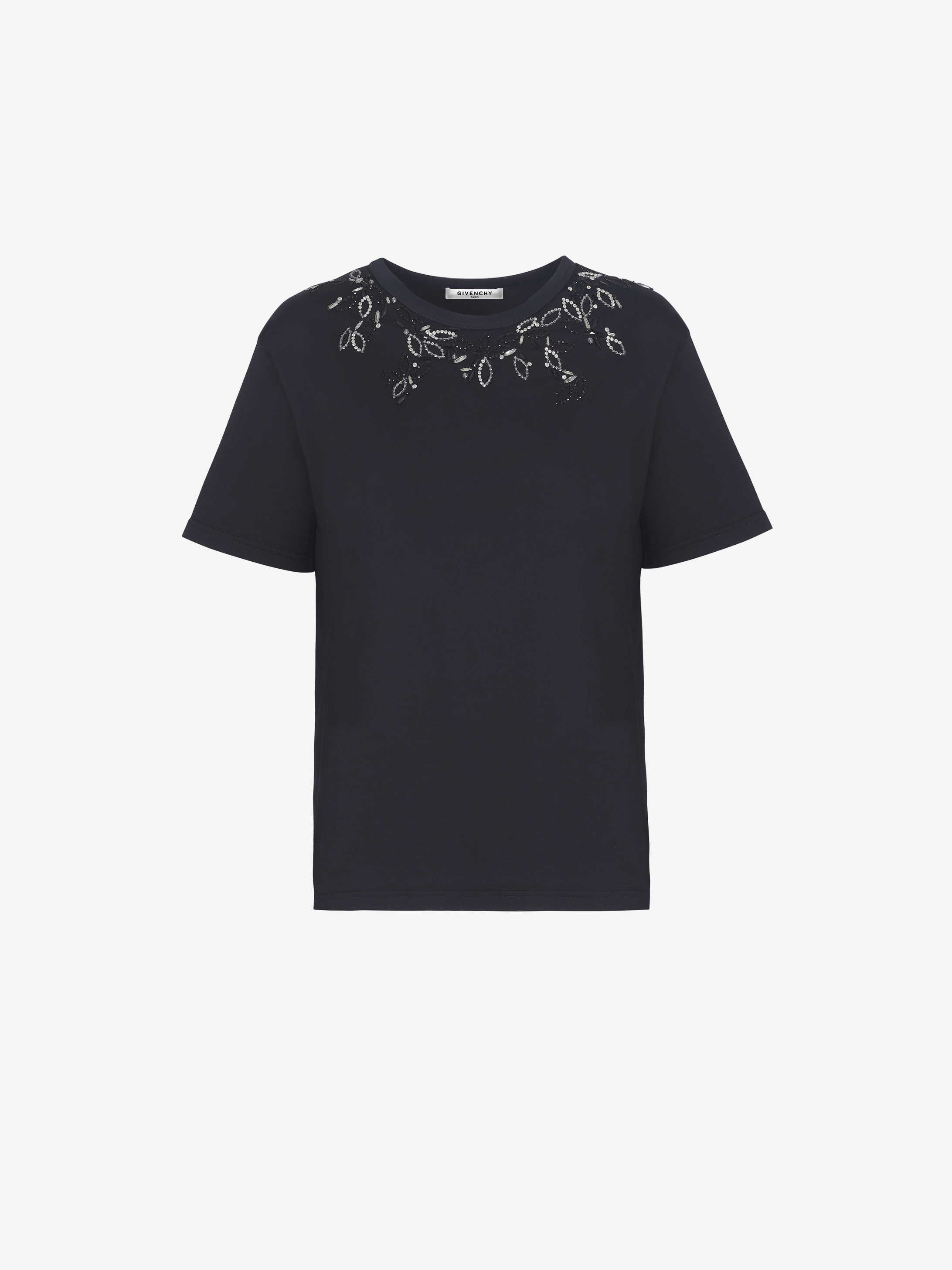 T-shirt con ricamo di cristalli