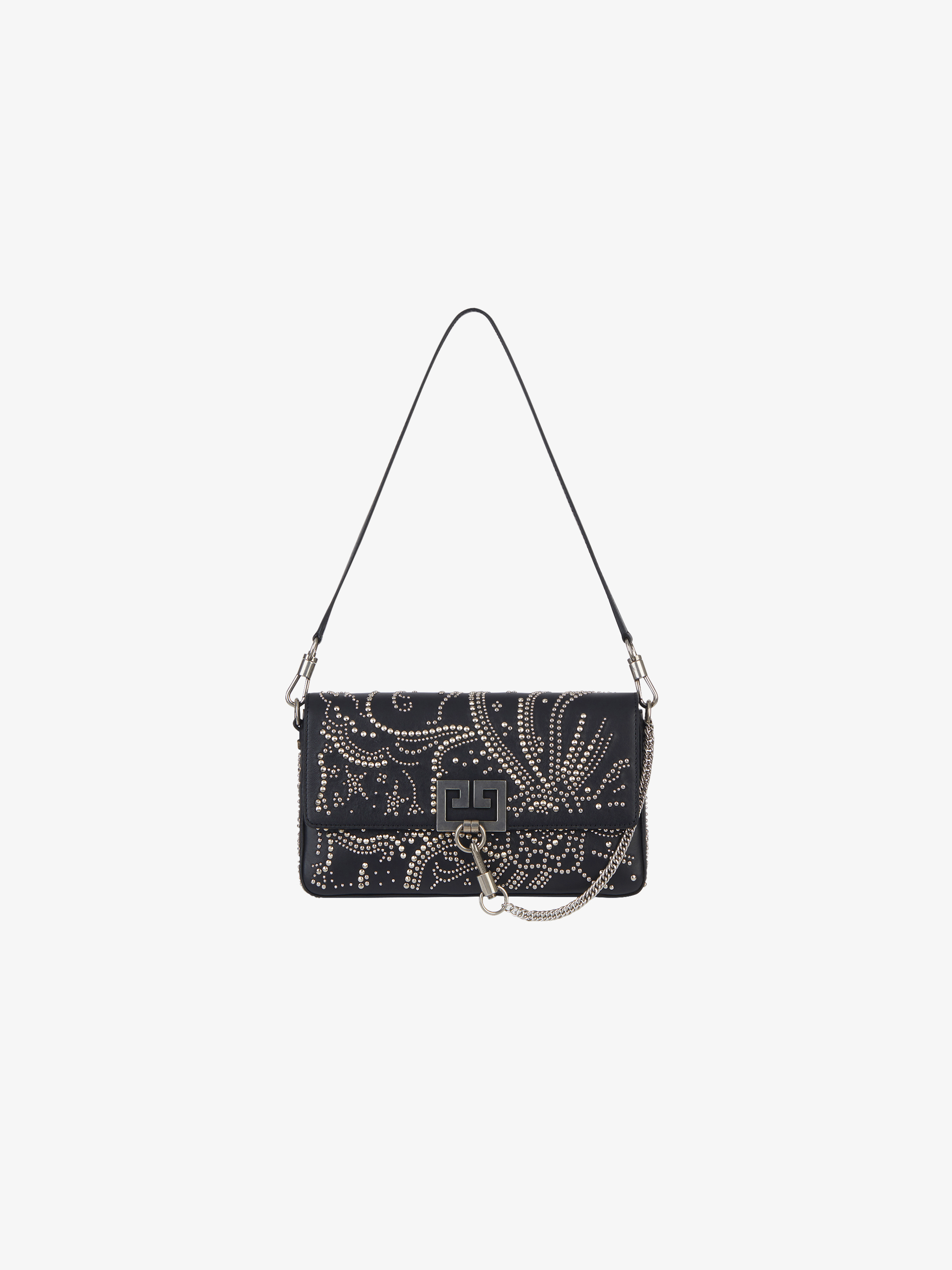 Studs floral pattern Charm bag in leather