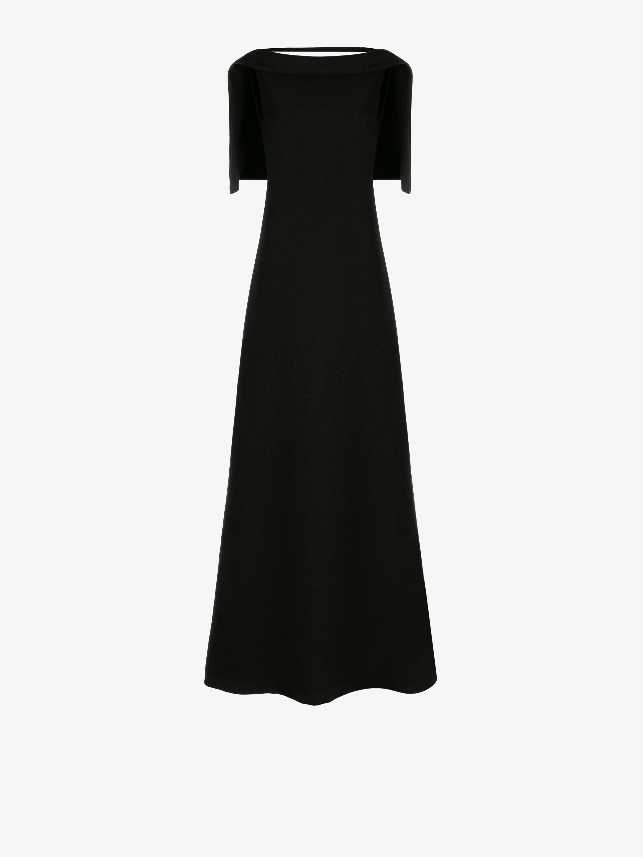 Long evening dress with cape shoulders