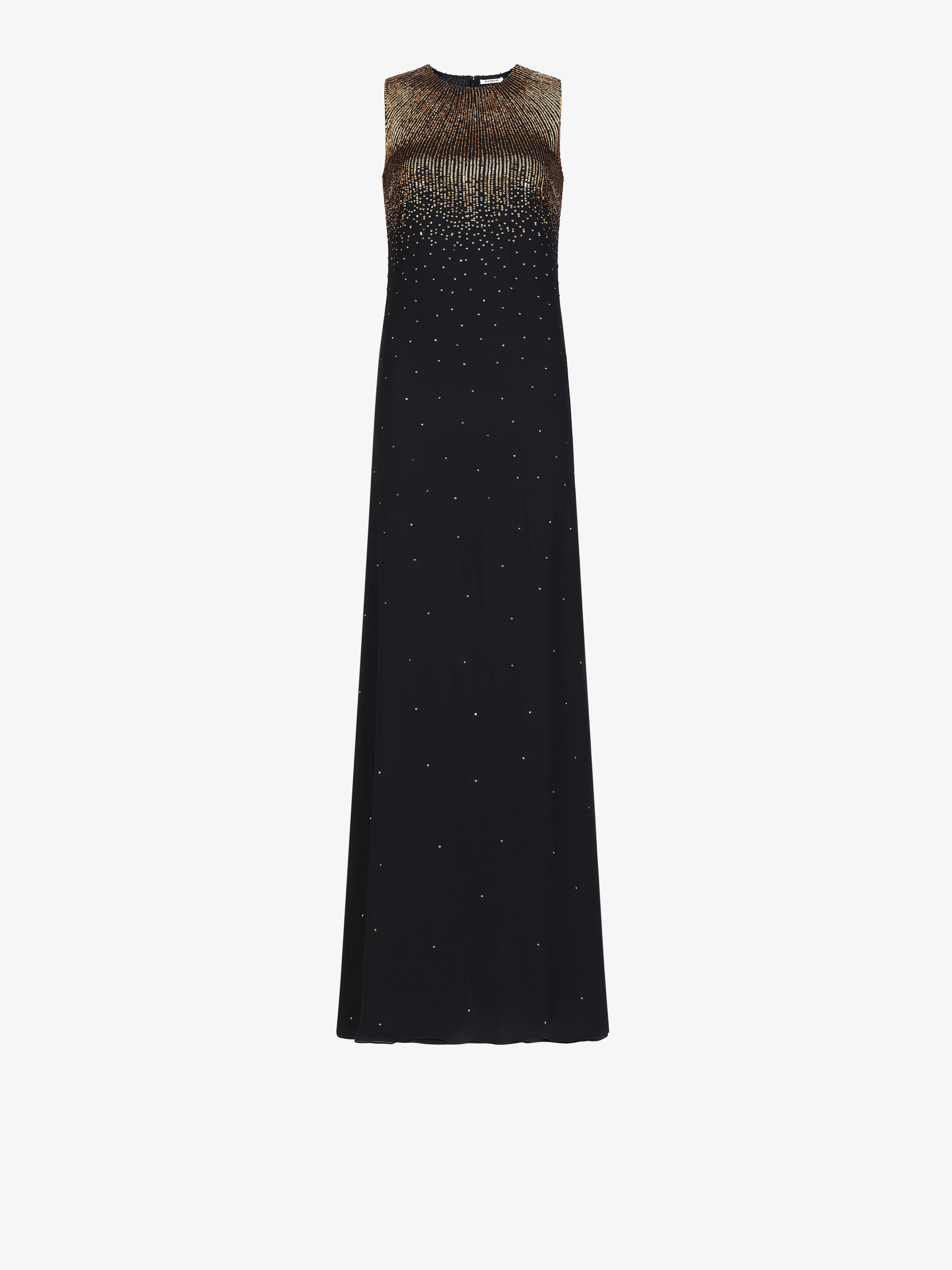 Sequins embroidered evening dress in silk
