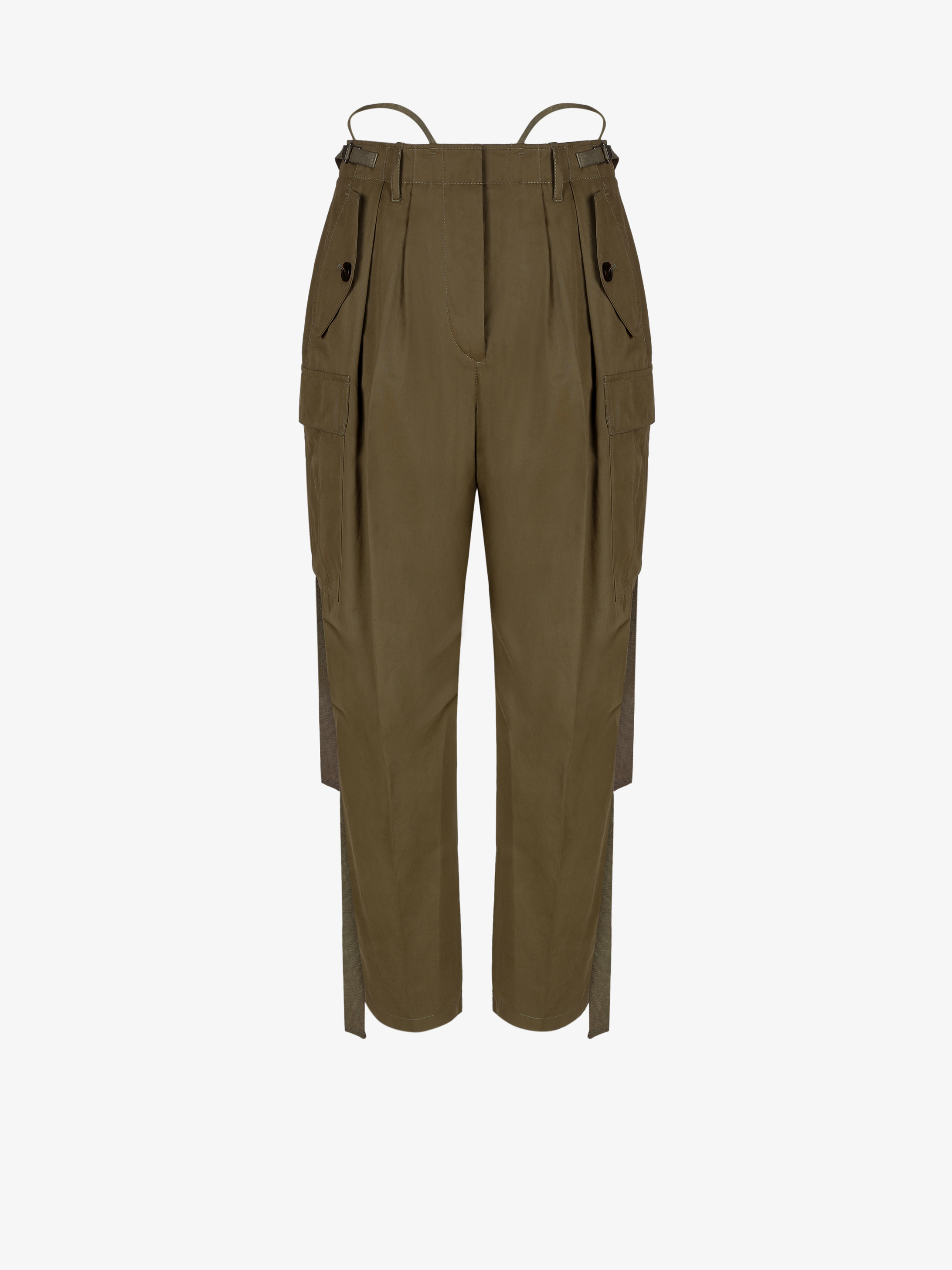 Multipockets military trousers with hanging ribbons