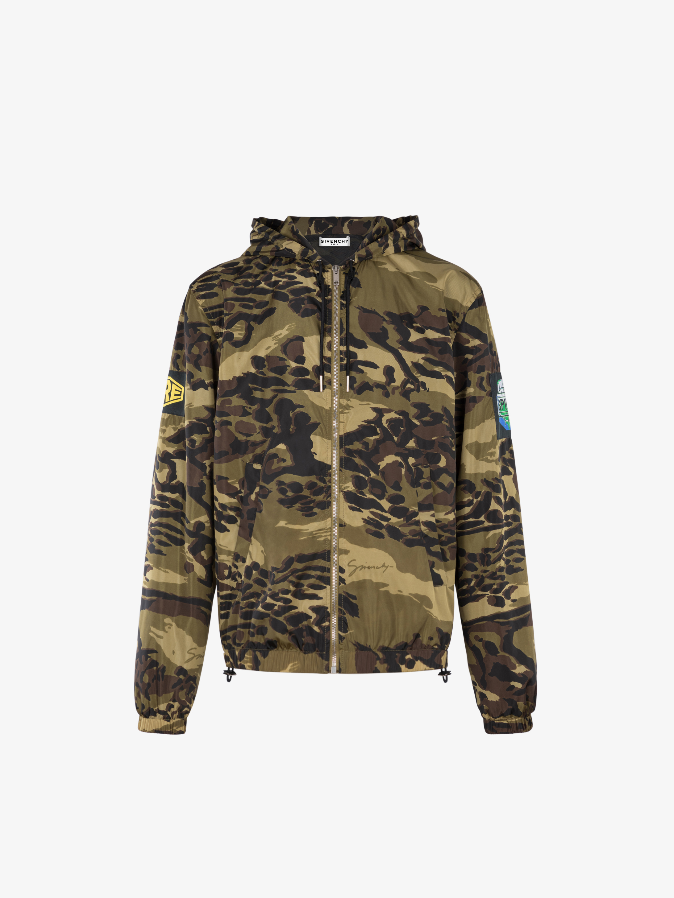 Camouflage printed windbreaker with patchs