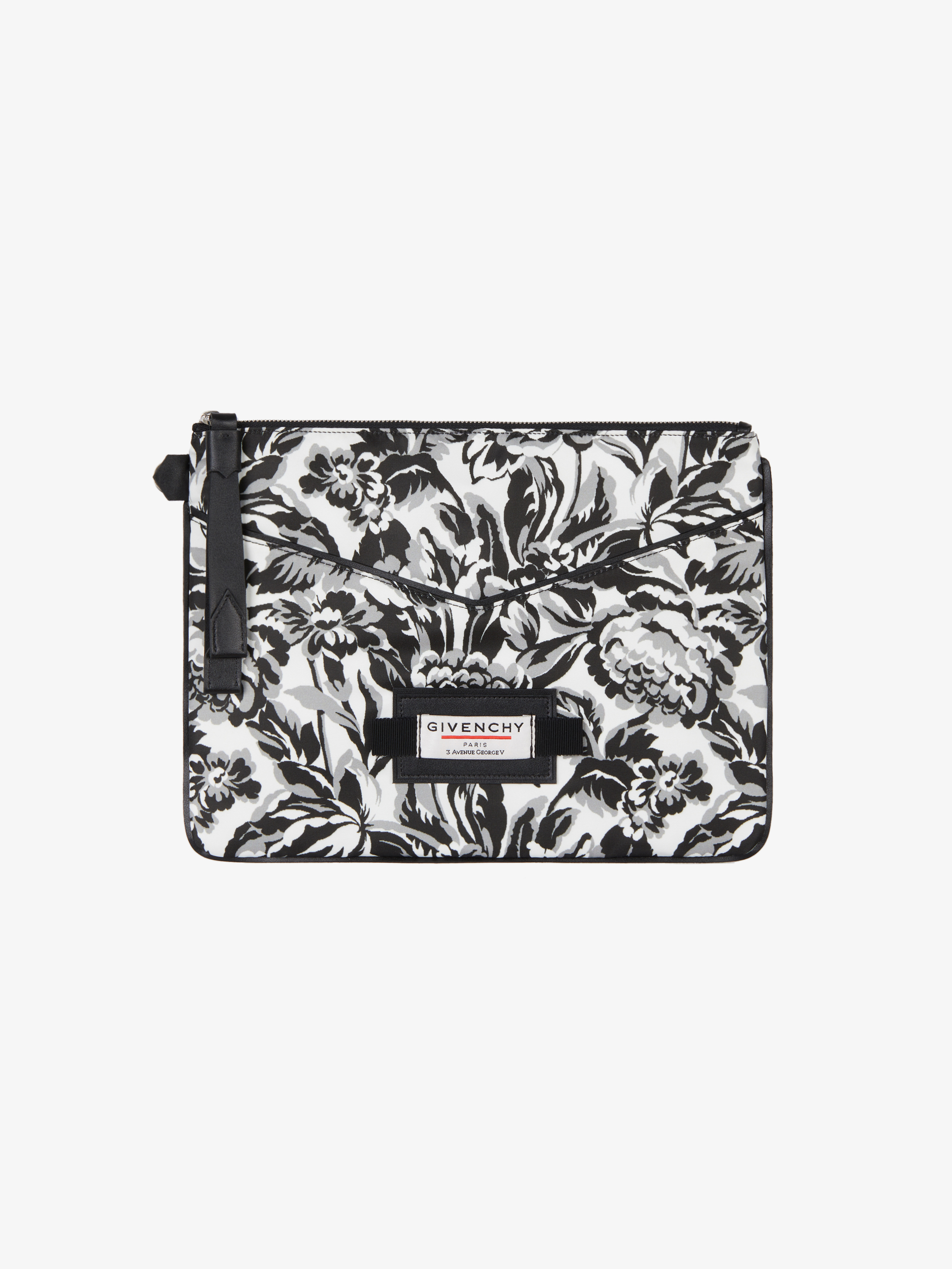 Large pouch in floral printed nylon