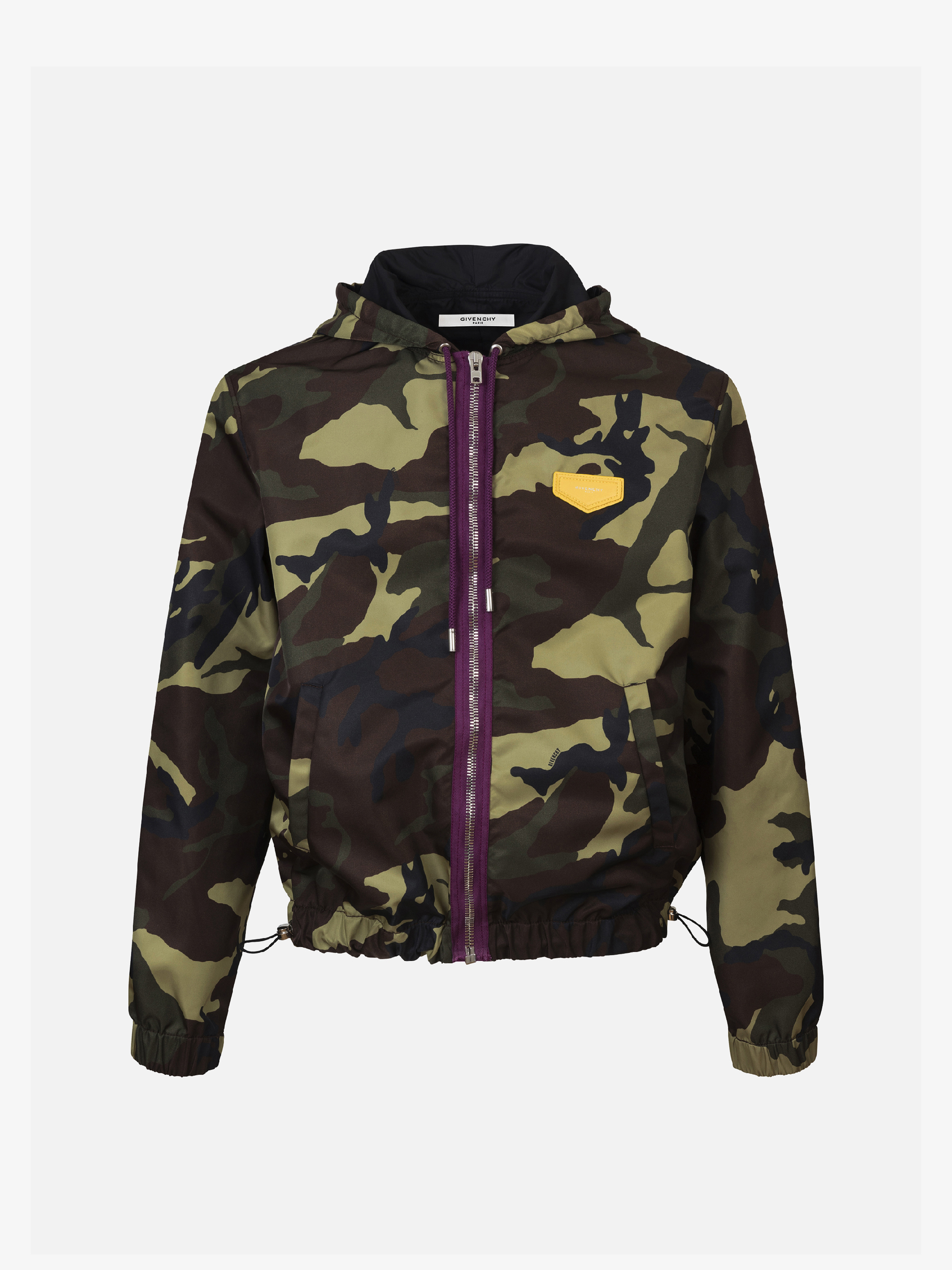 Camo printed hooded windbreaker