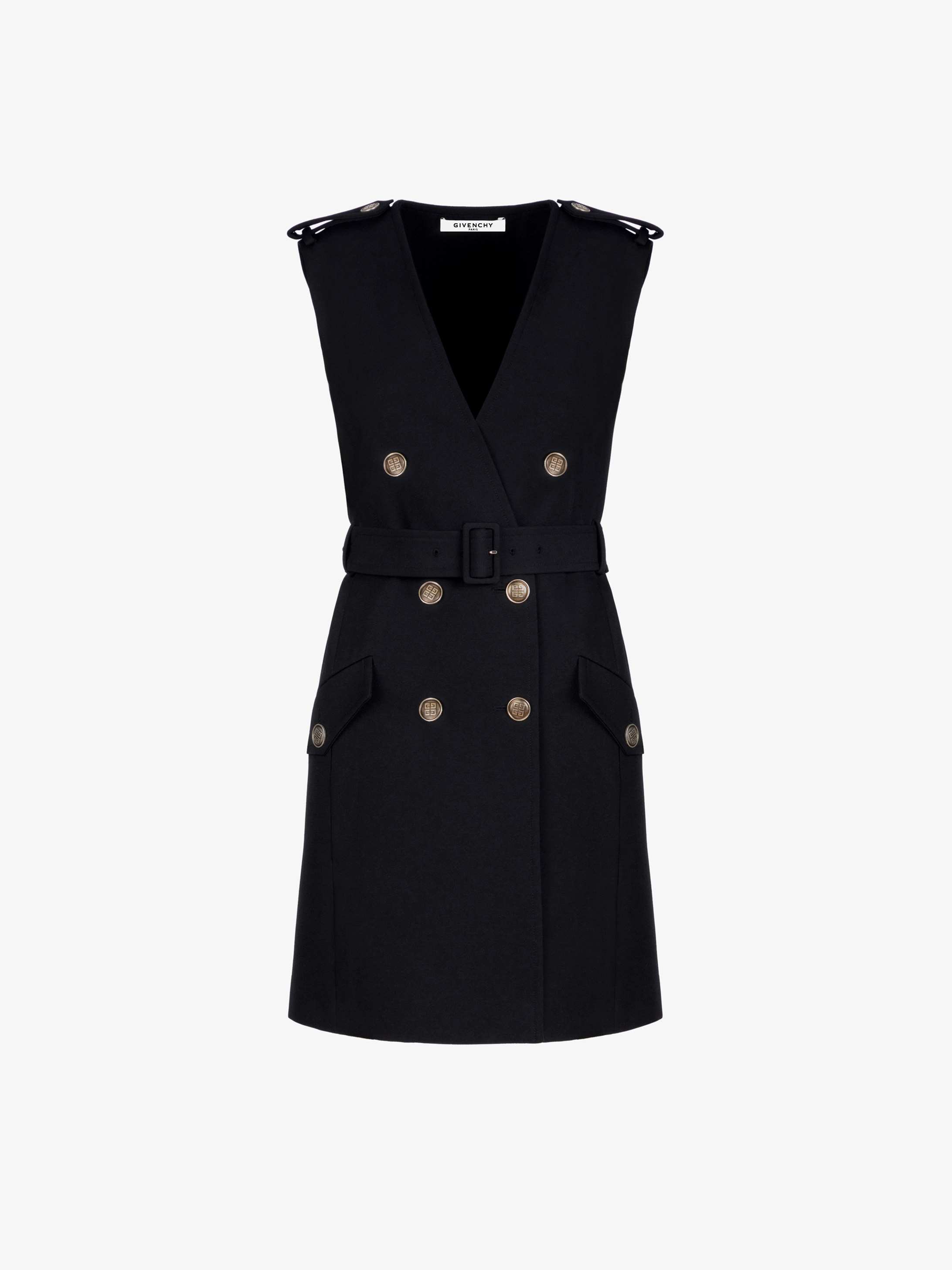 Military wrap dress with 4G buttons