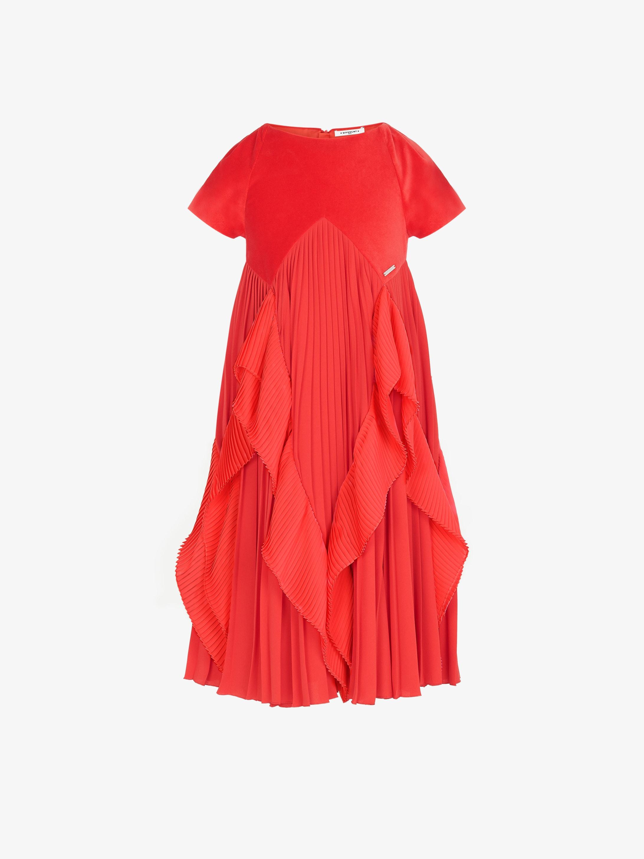 丝绒褶裥连衣裙