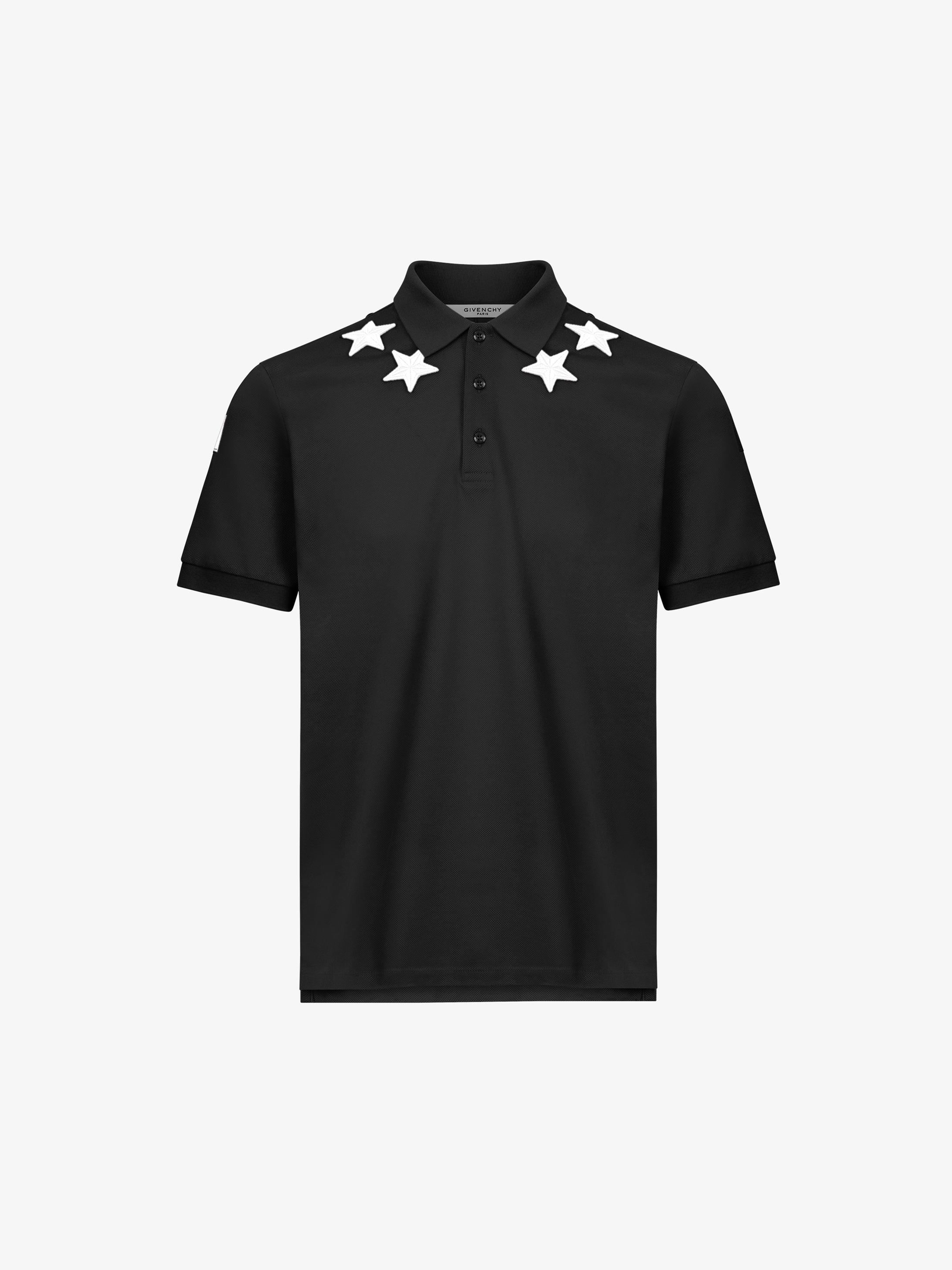 Polo in cotone con stelle e dettaglio 74