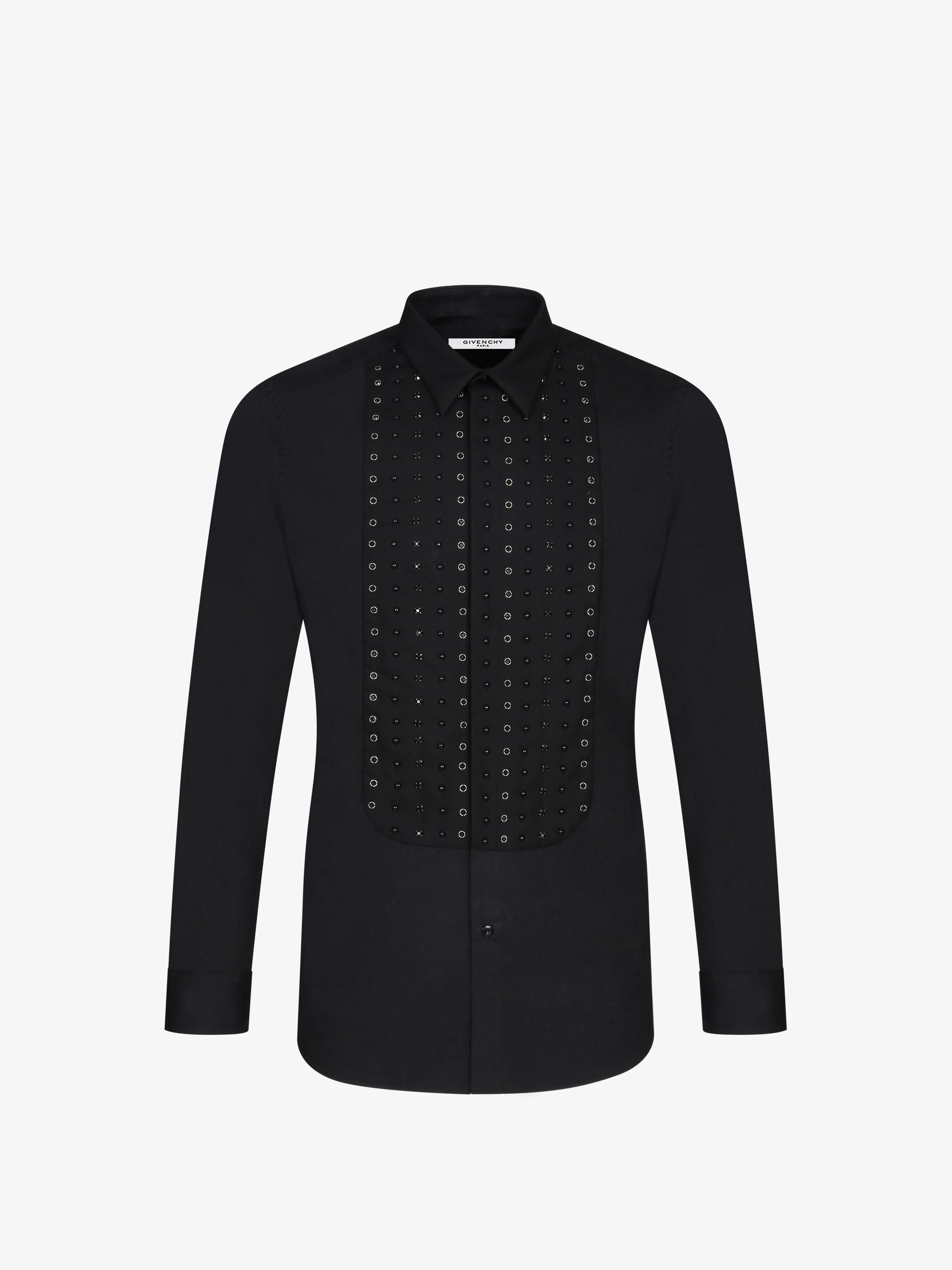 Metallic embroidered plastron shirt