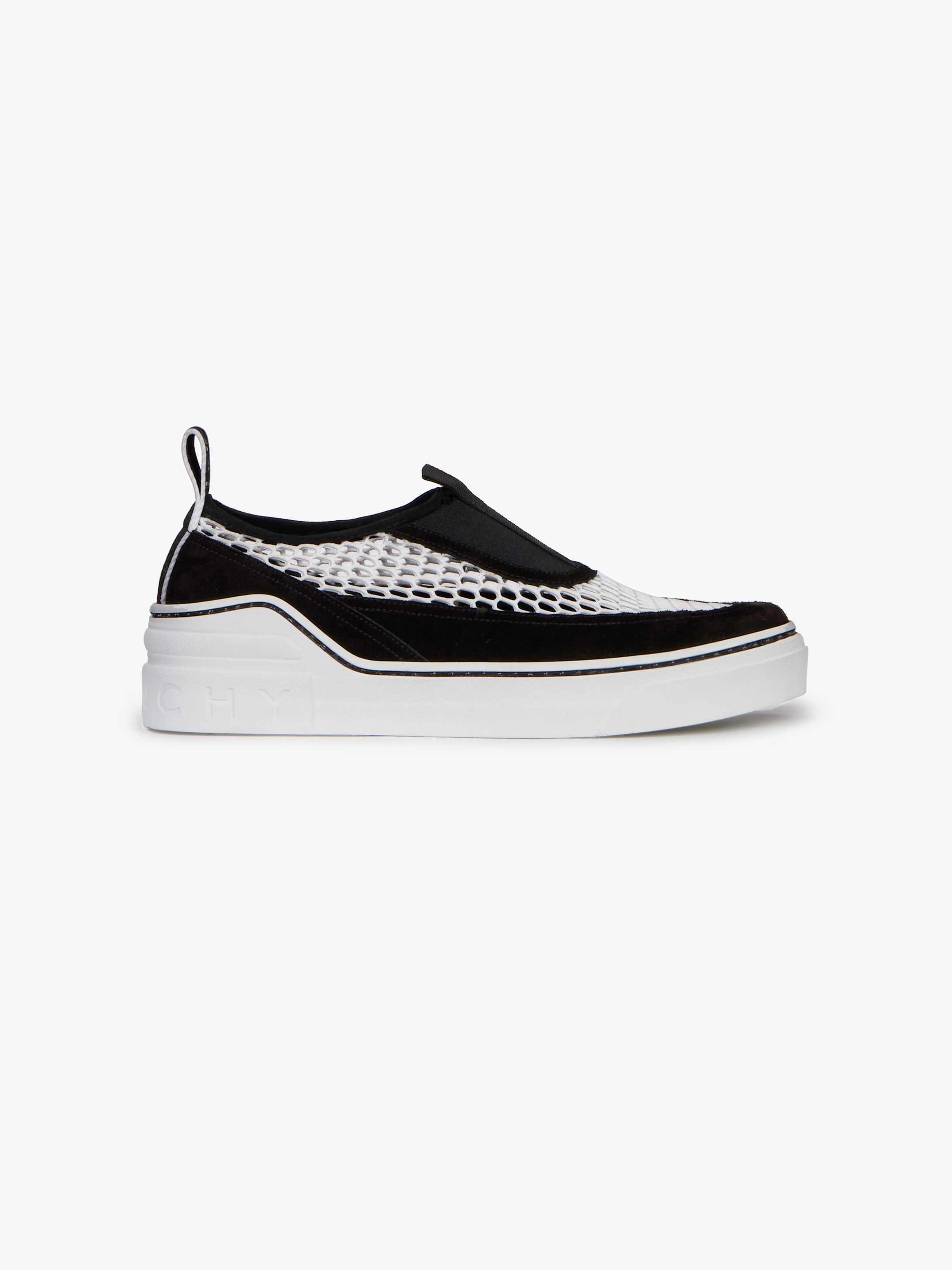 Slip-on sneakers in mesh and suede