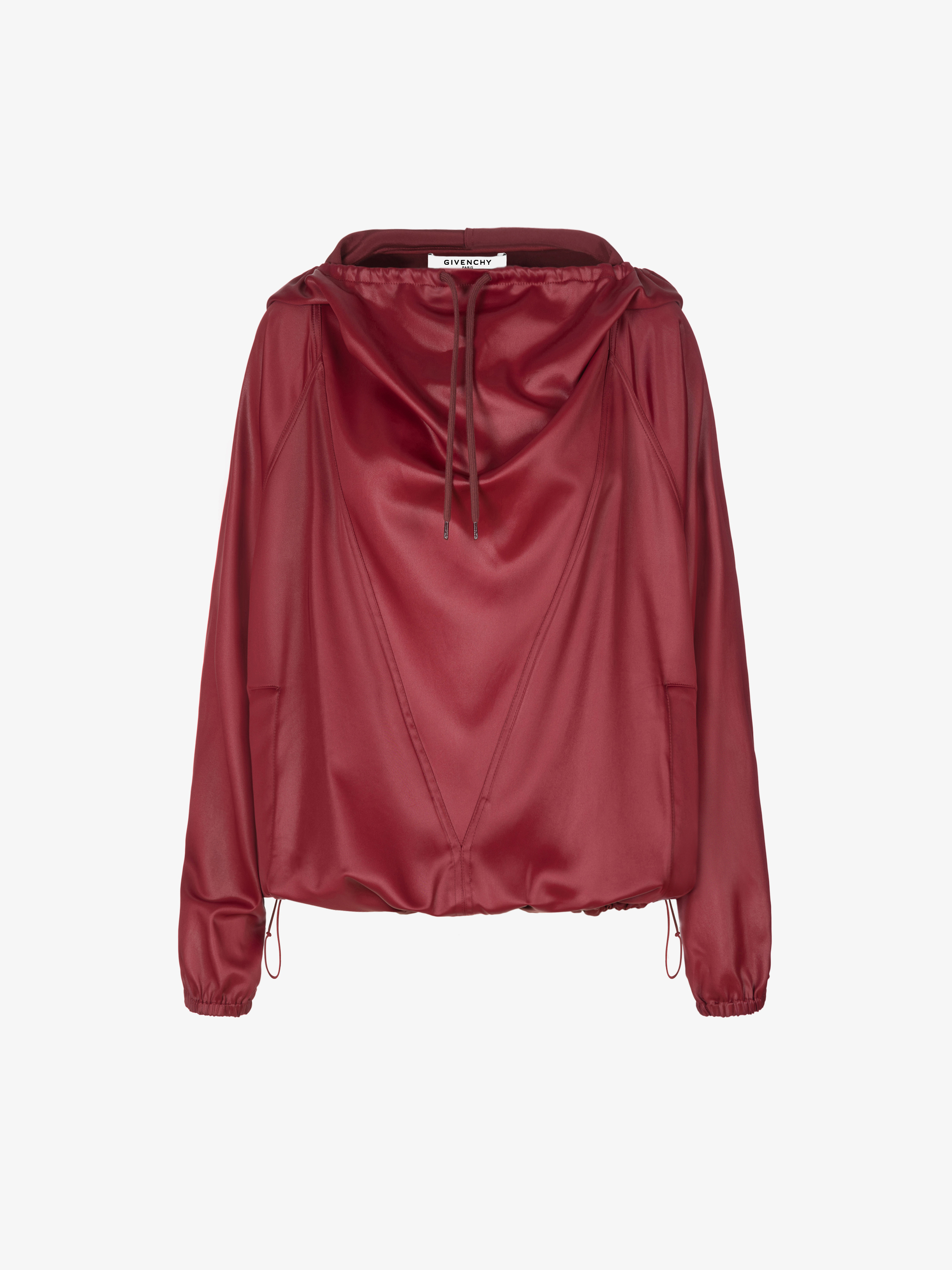 Hoodie in shiny satin