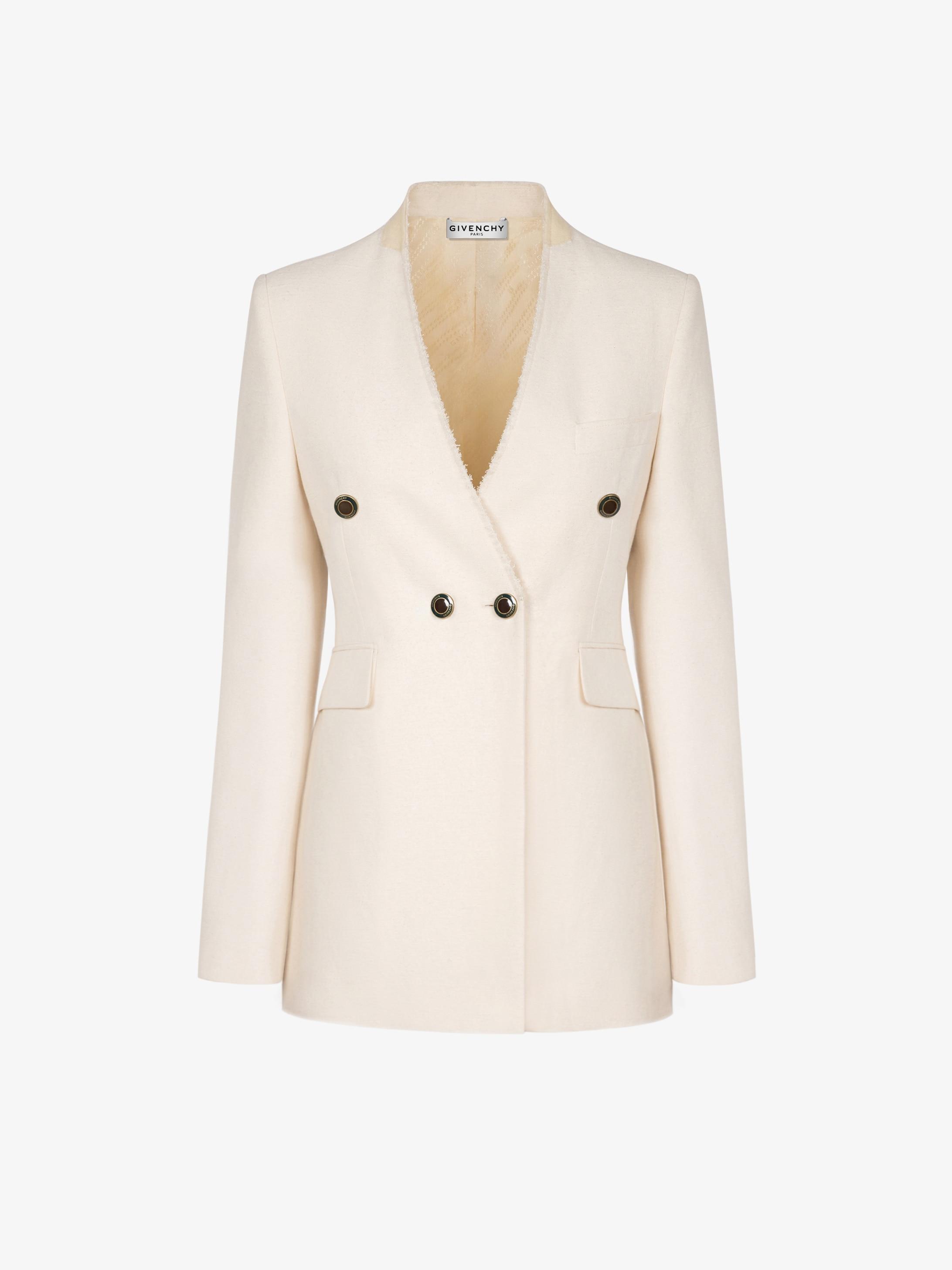 에나멜 버튼 장식 노칼라 더블 브레스트 재킷