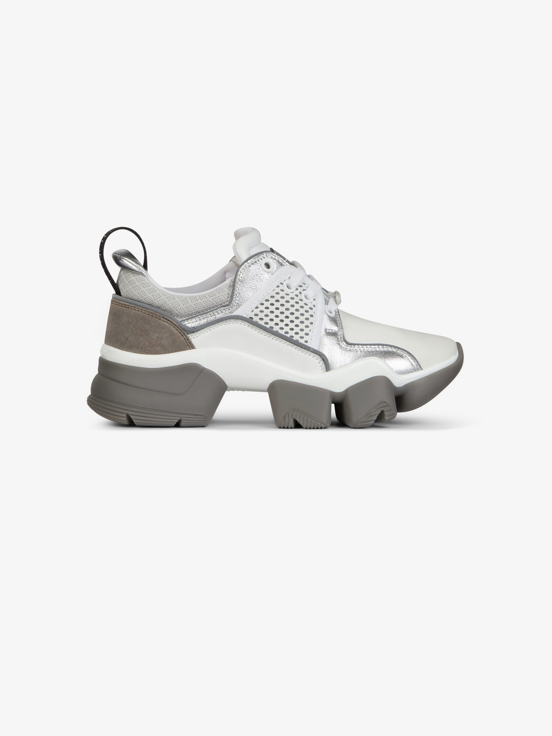 Metallized low JAW sneakers in neoprene and leather