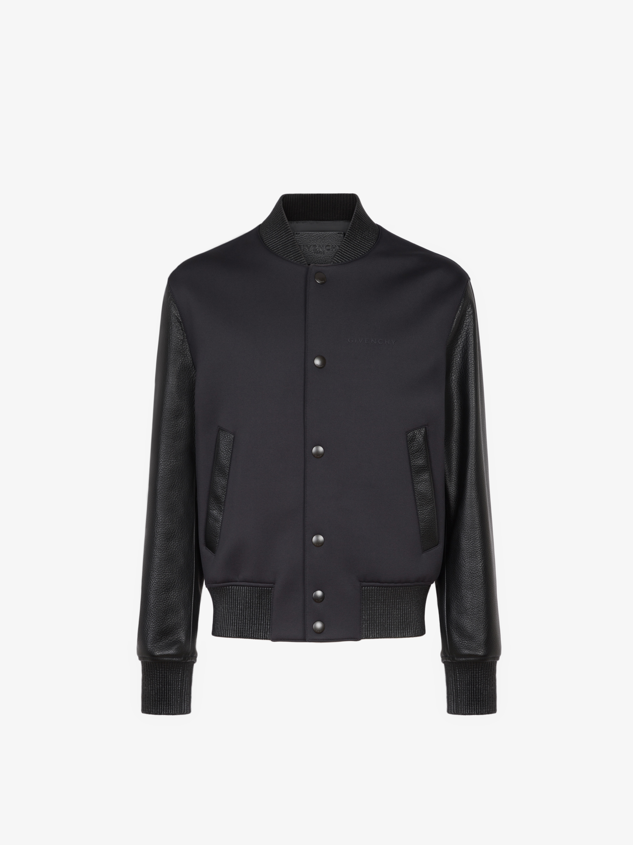 Bomber jacket in neoprene and leather