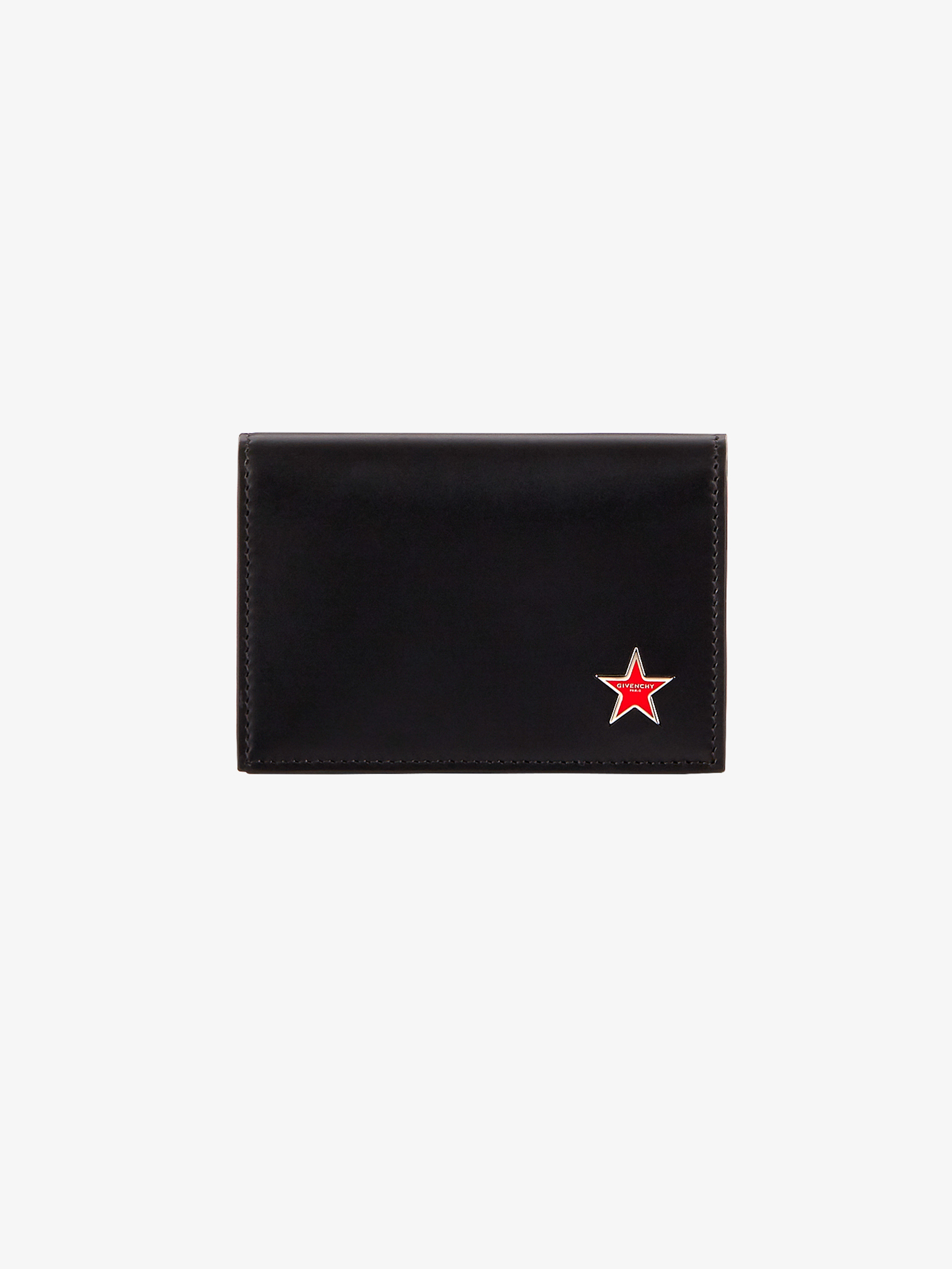 Metallic star leather card holder