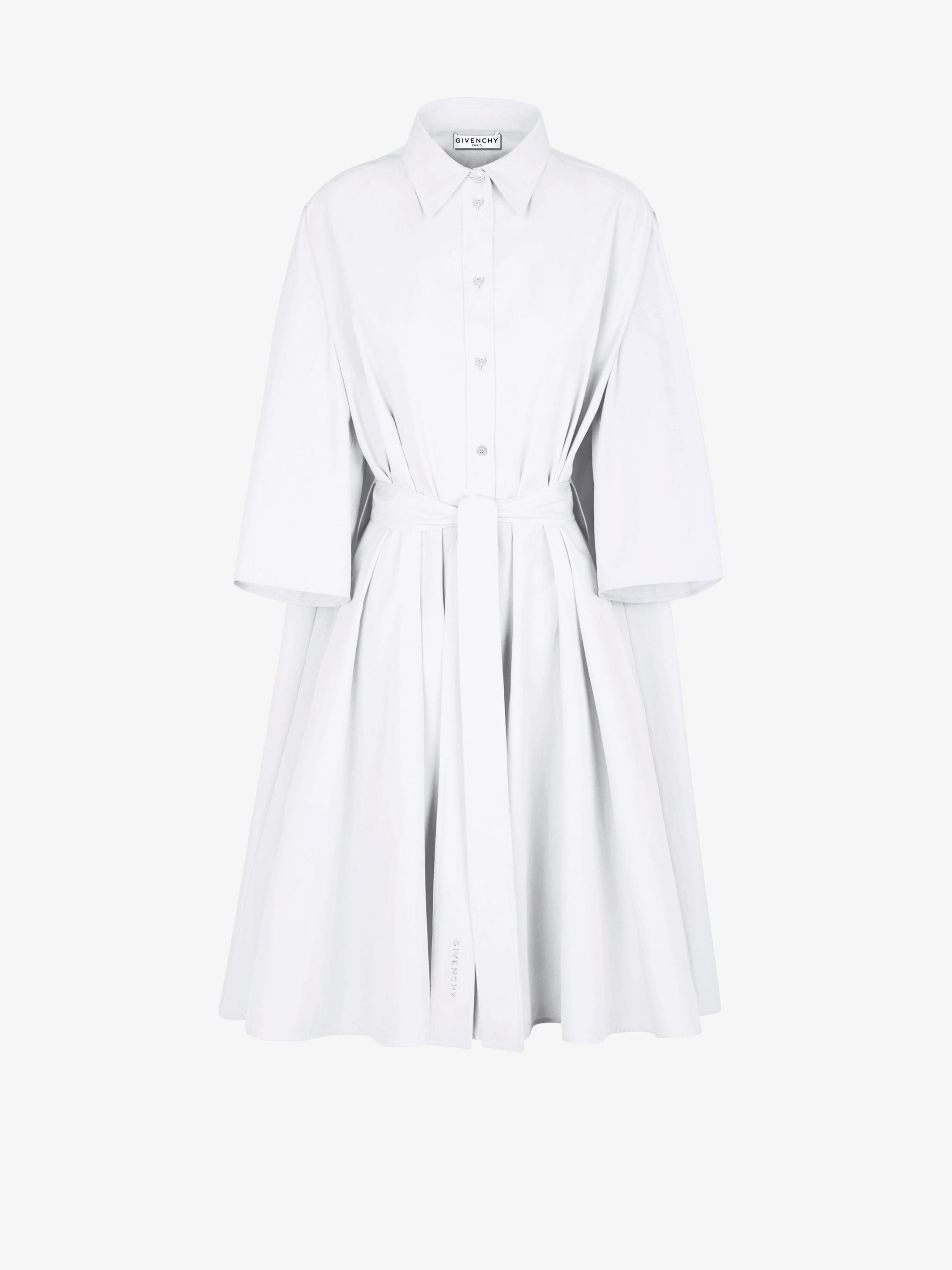 Belted shirt dress in popeline