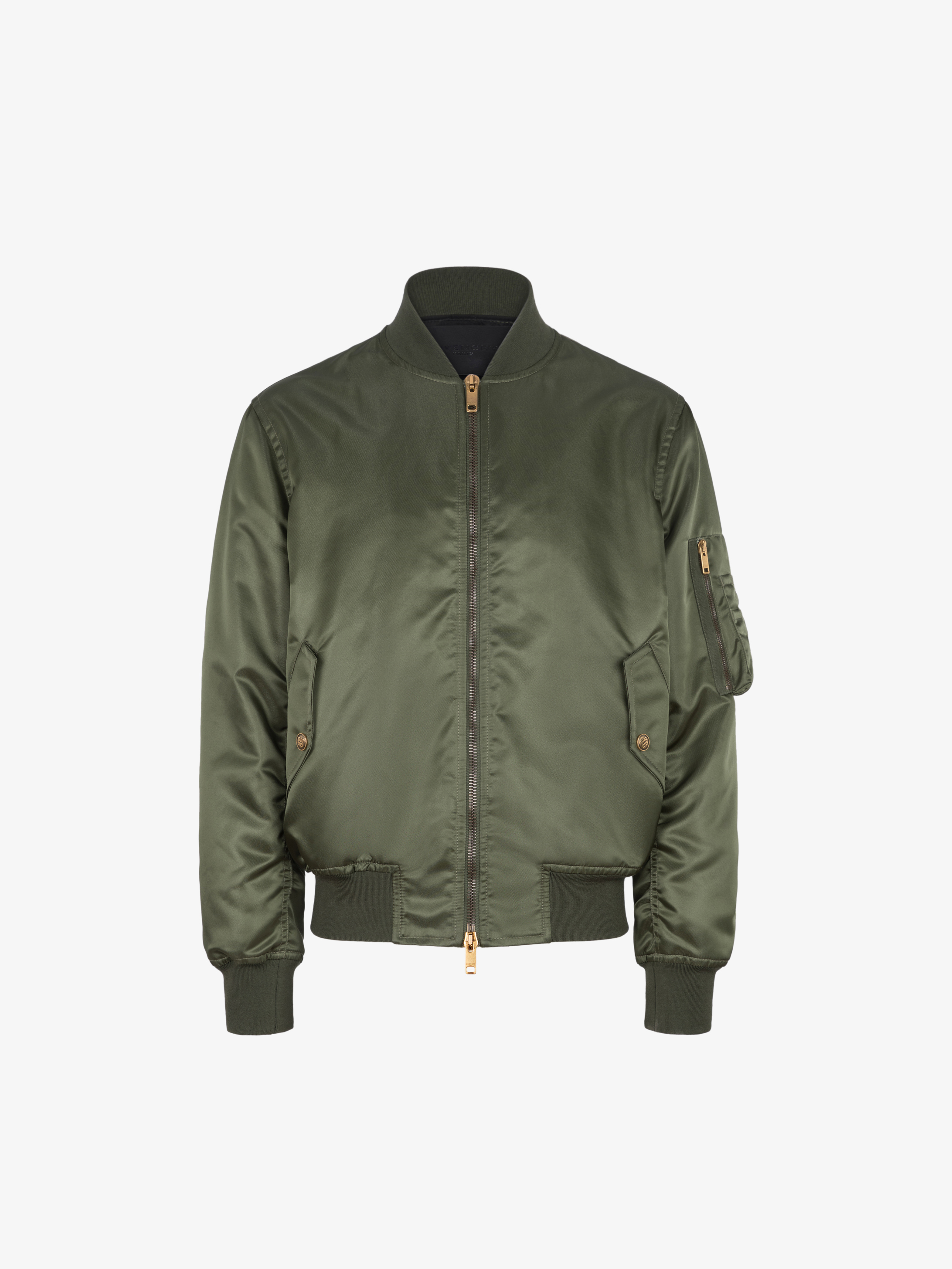 Bomber jacket in satin nylon with 4G buttons